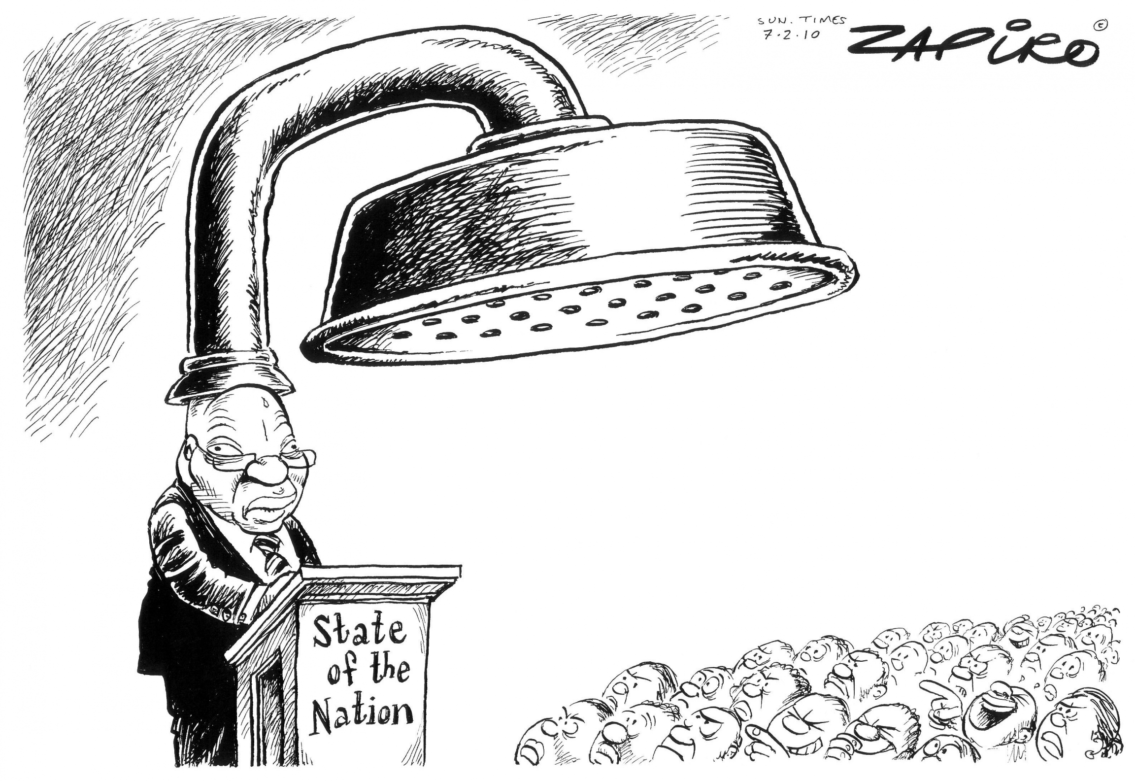 Zapiro cartoon of Jacob Zuma addressing the South African parliament not knowing there's a shower on his head.