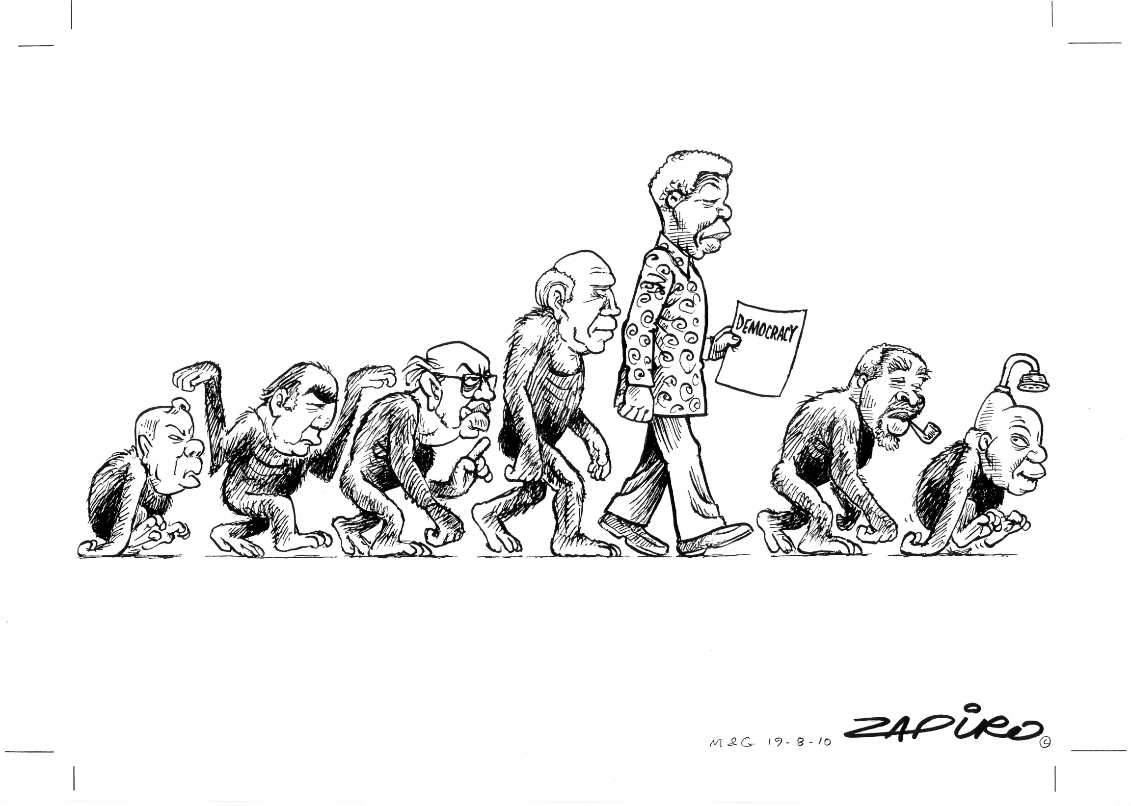 """Evolution of Democracy"" in South Africa."