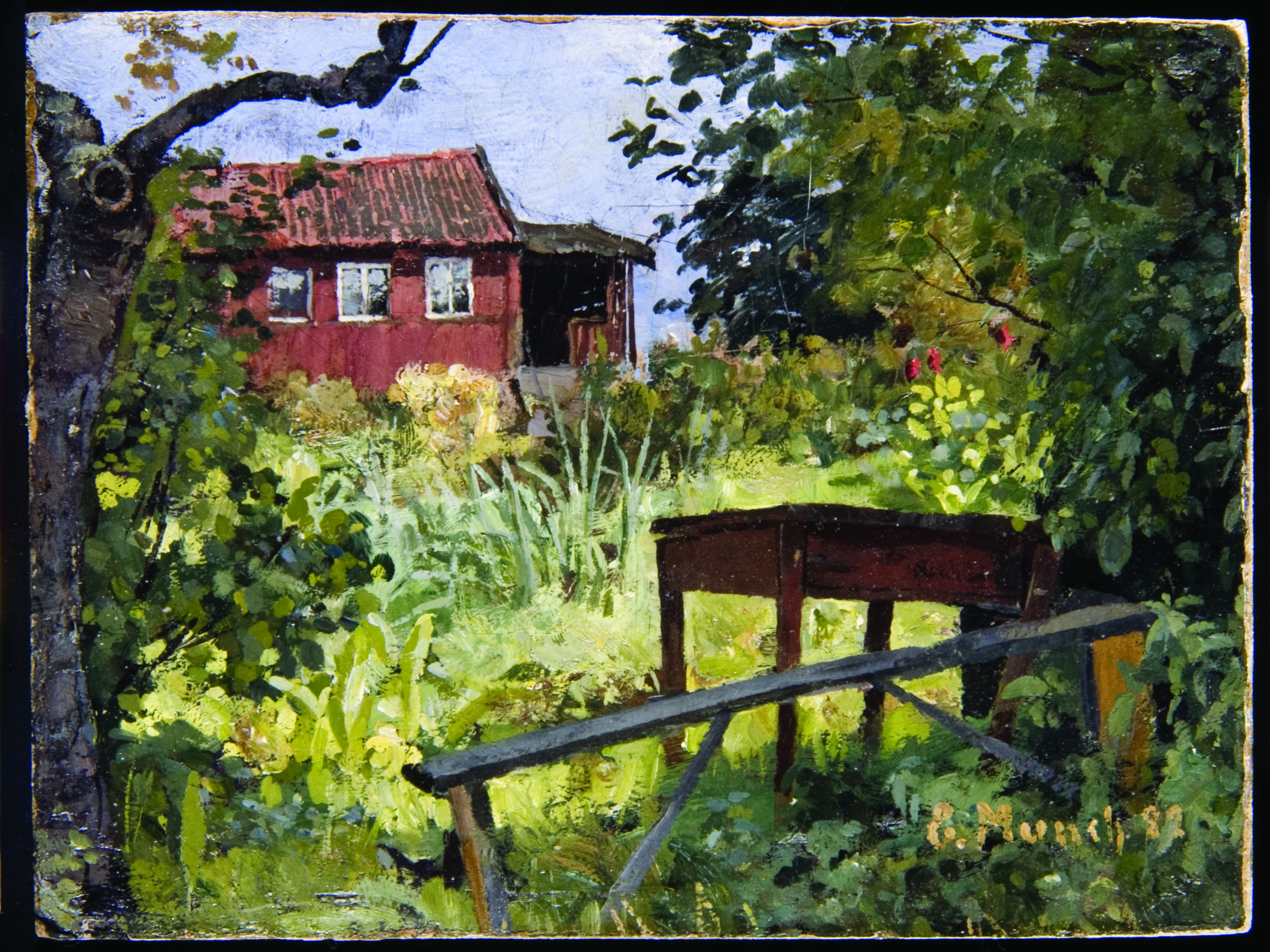 """""""Garden with Red House"""" (1882) by Edvard Munch"""