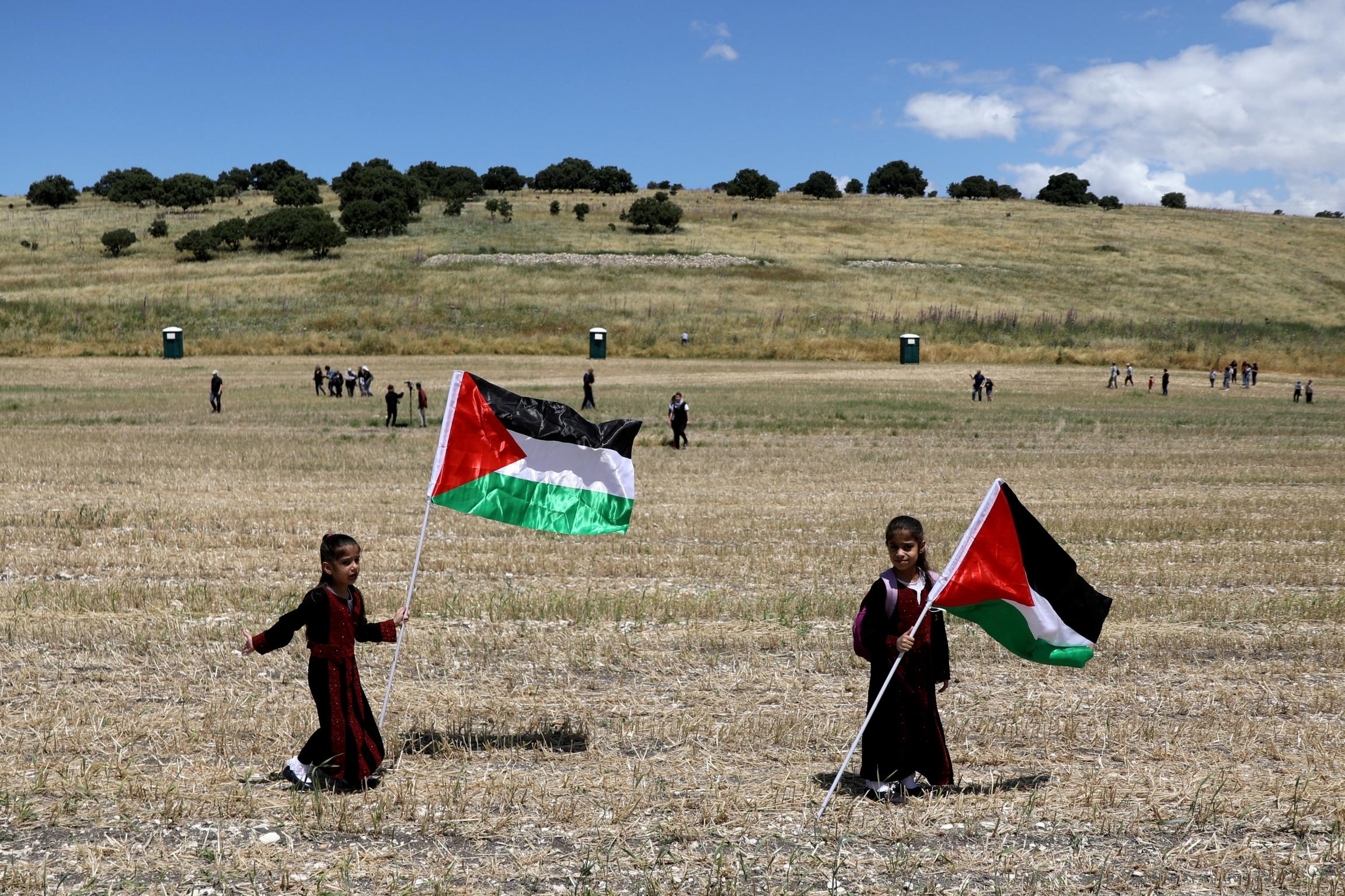 Children wave Palestinian flags in an open field.