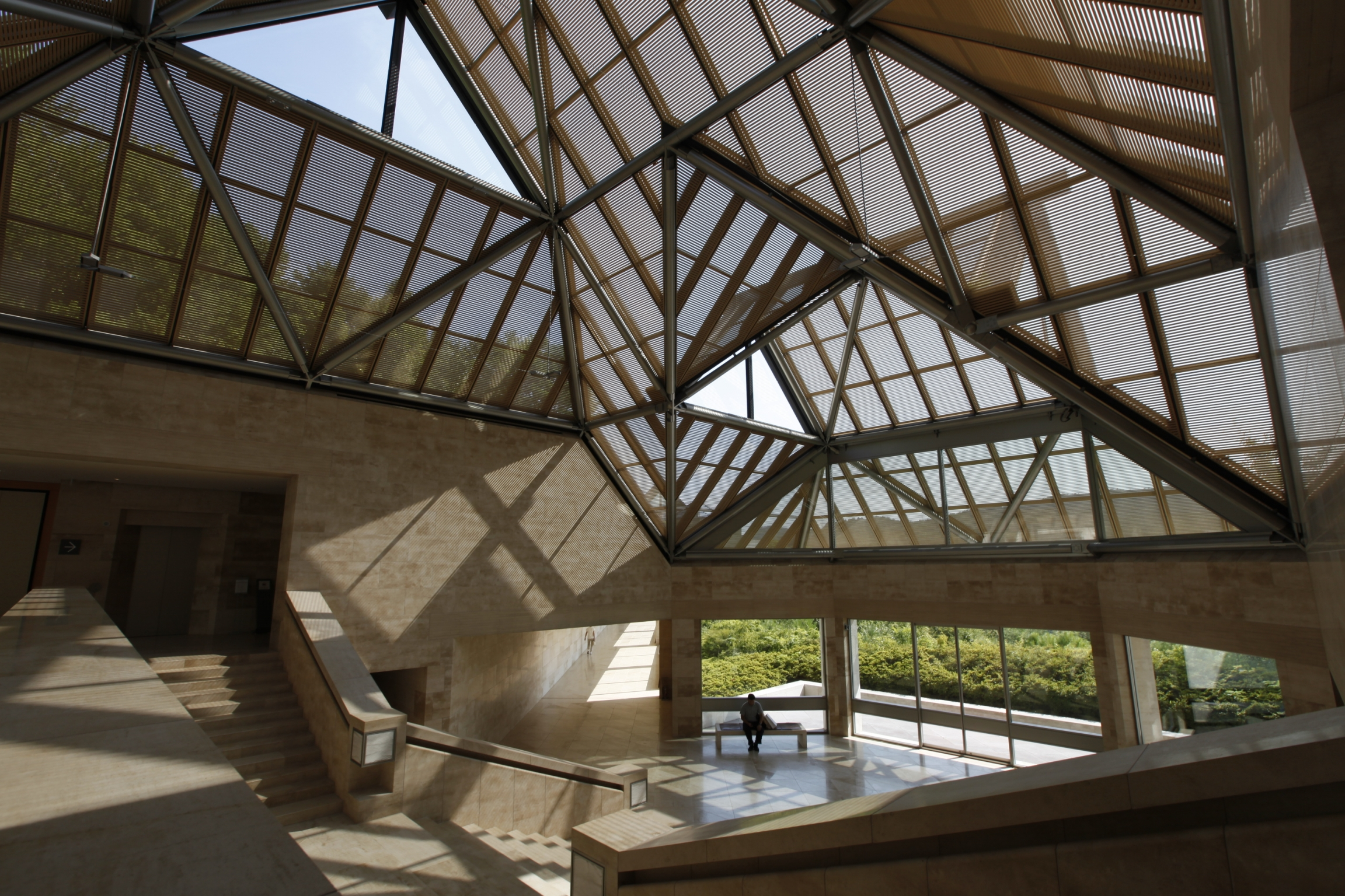 The glass and naturally lit interior of the Miho Museum.