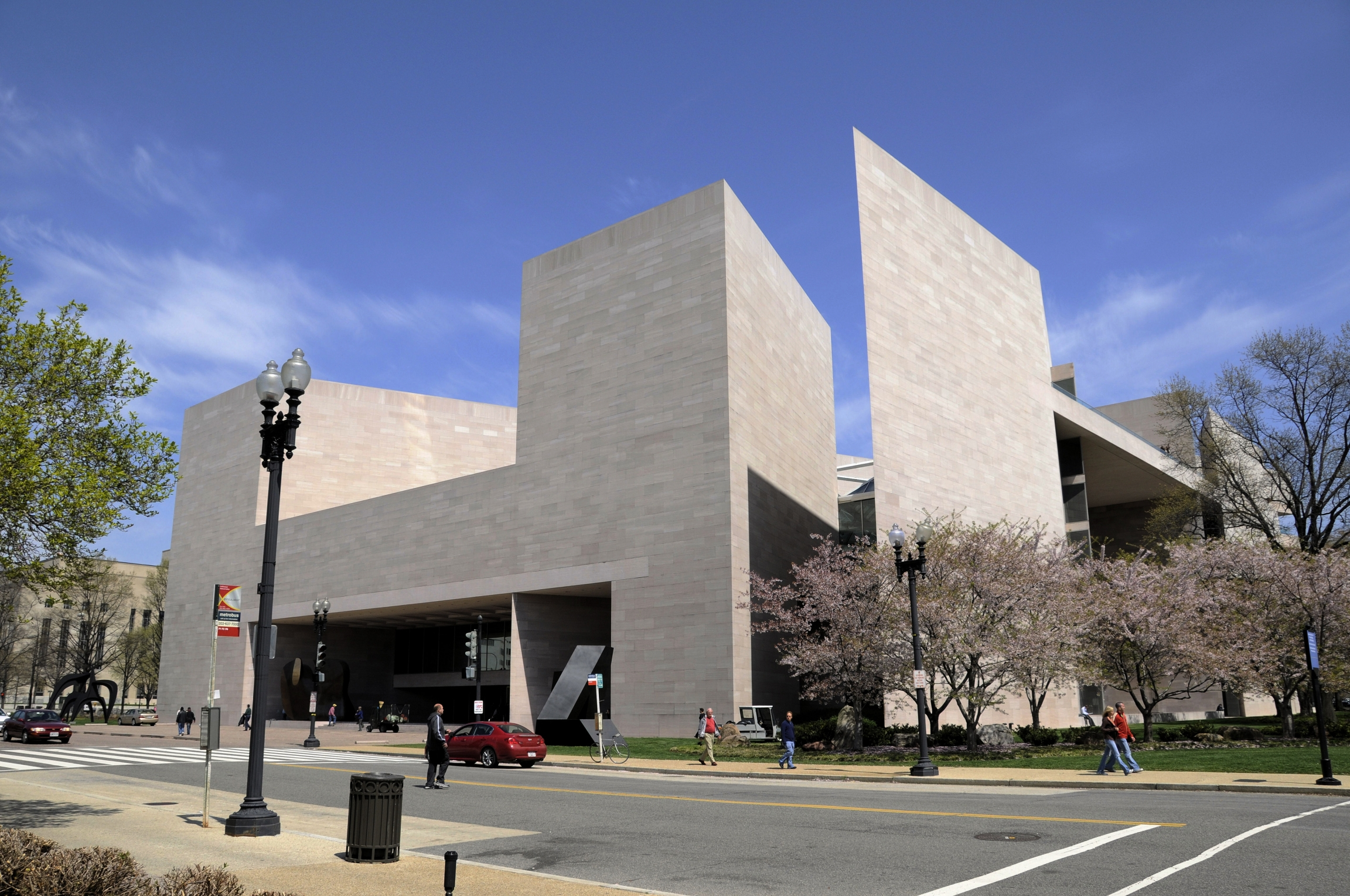 A street side view of the East Building in the National Gallery of Art.
