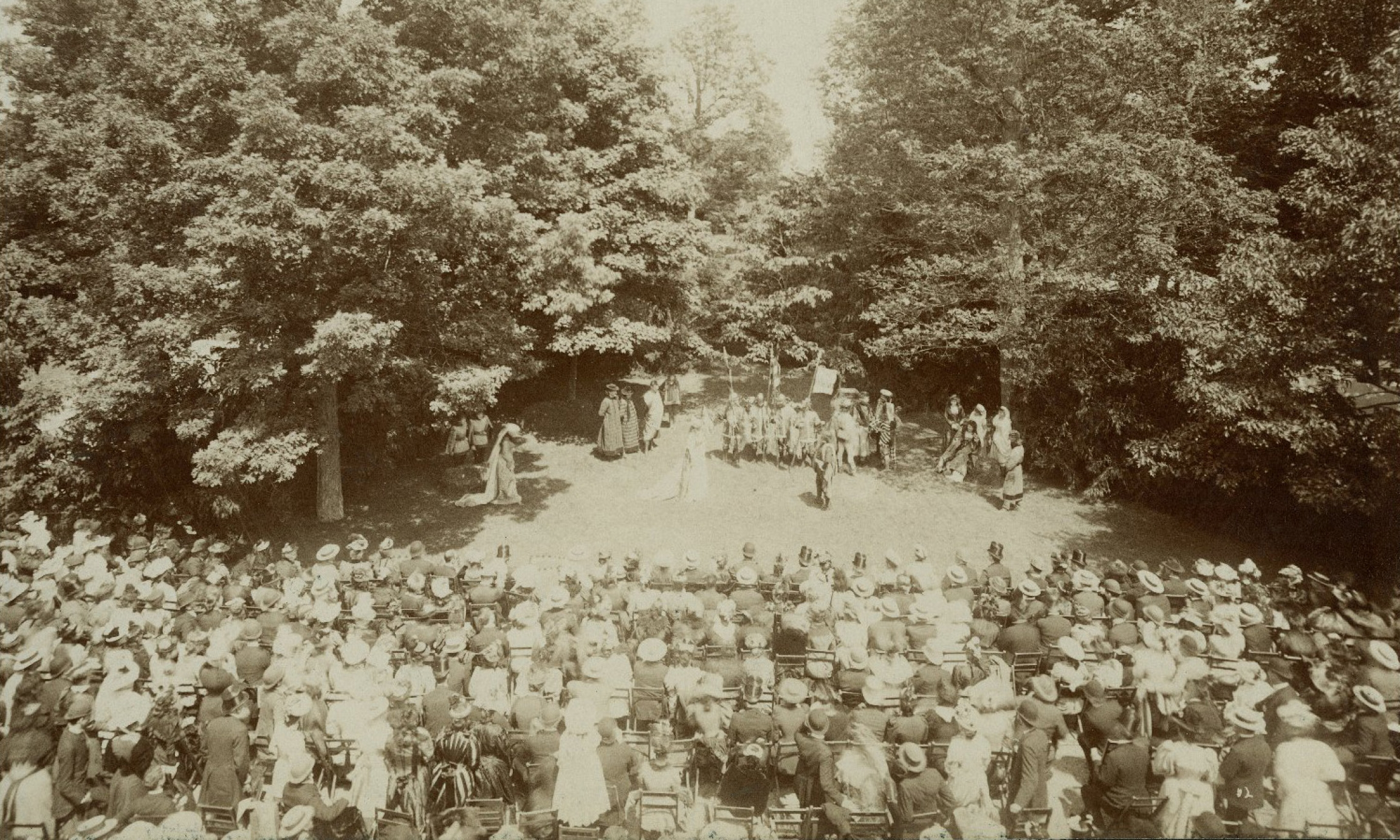 "An open air performance of Shakespeare's ""As You Like It"" in Lake Forest, Illinois in 1892."