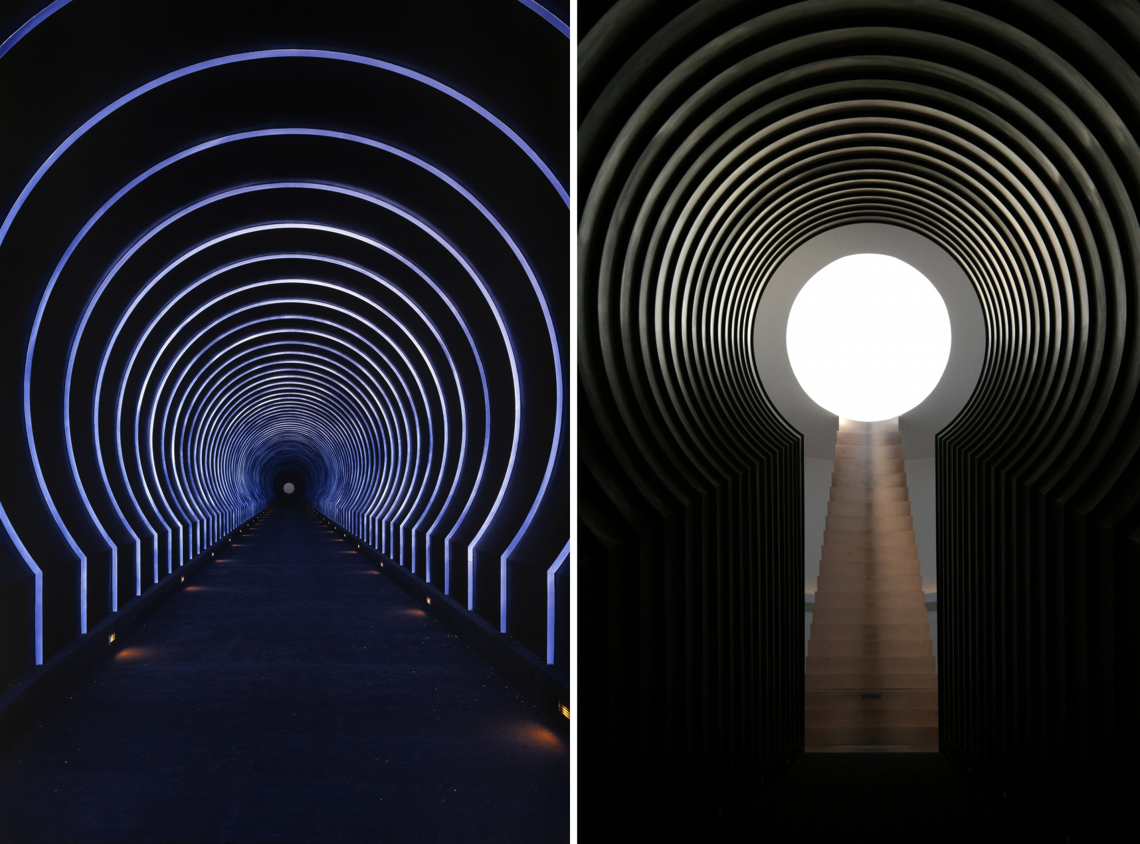 Views of the Alpha (East) Tunnel inside James Turrell's Roden Crater.