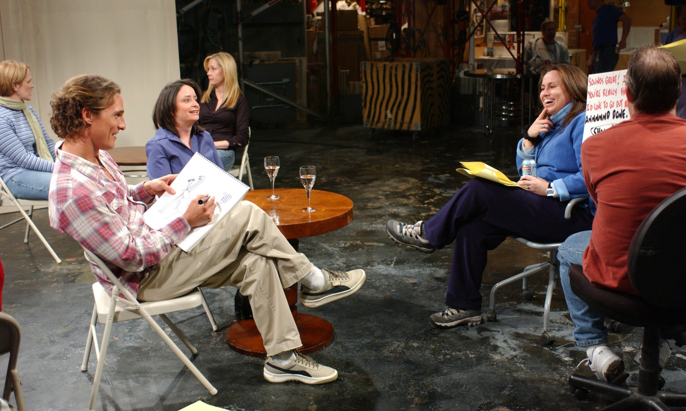 "Beth McCarthy-Miller (right) on the set of ""Saturday Night Live"" with host Matthew McConaughey and cast member Rachel Dratch."