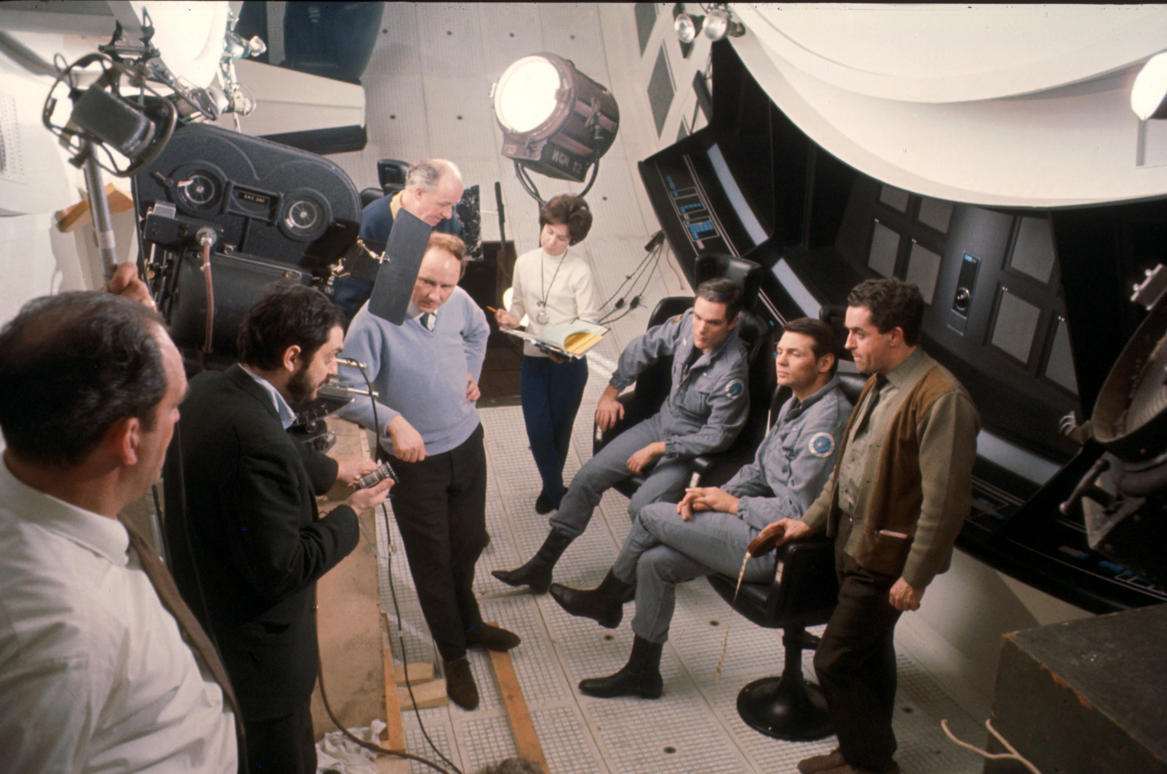 "Director Stanley Kubrick (left) on the set of ""2001: A Space Odyssey."""