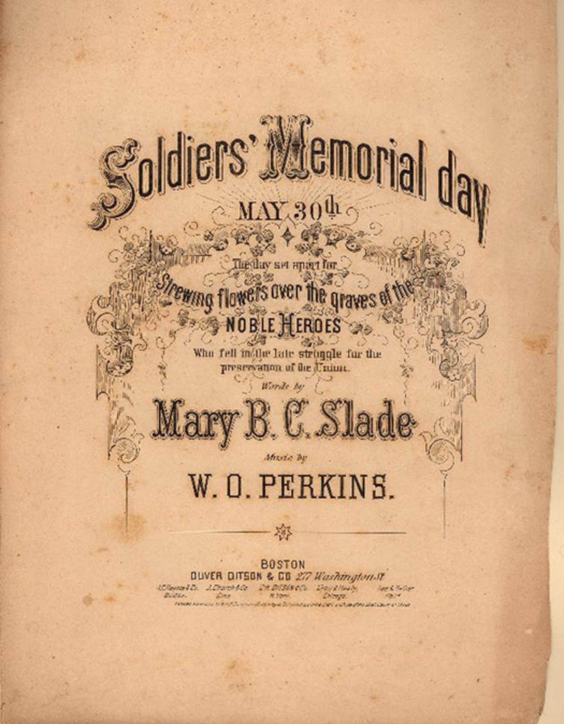 Sheet music written to commemorate Memorial Day in 1870.