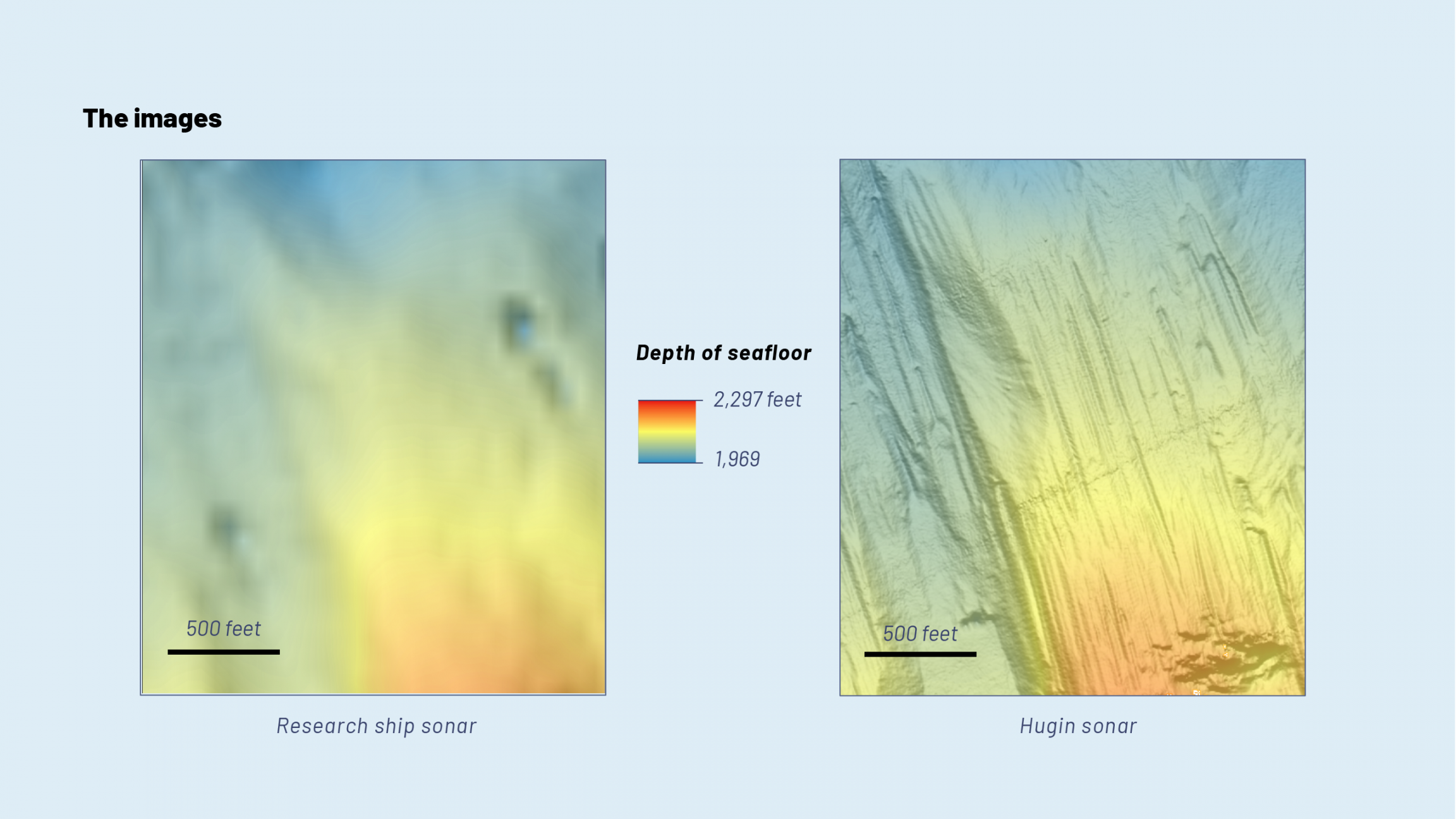 A side-by-side comparison of the ship's sonar and that collected by the Hugin's. The Hugin's imagery is crisp.