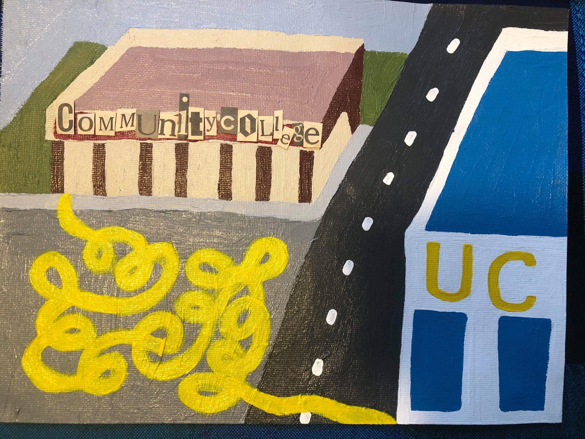 Painting that shows the winding patch from community colleges to universities.