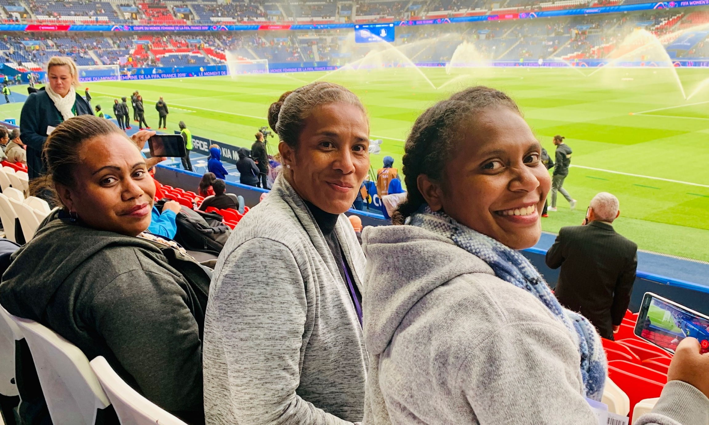 three women sports commentators at the world cup