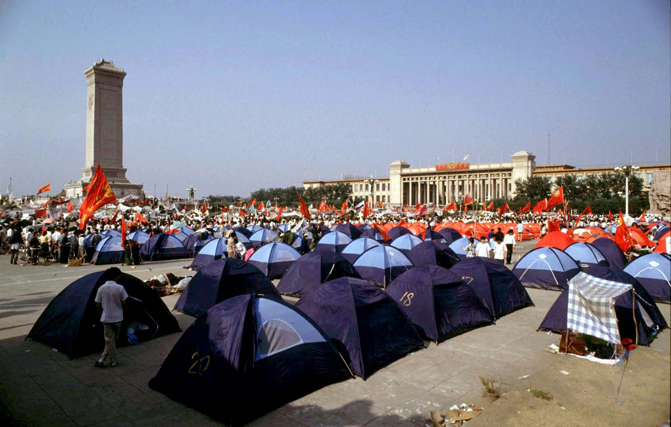 Tents fill up Tiananmen Square.
