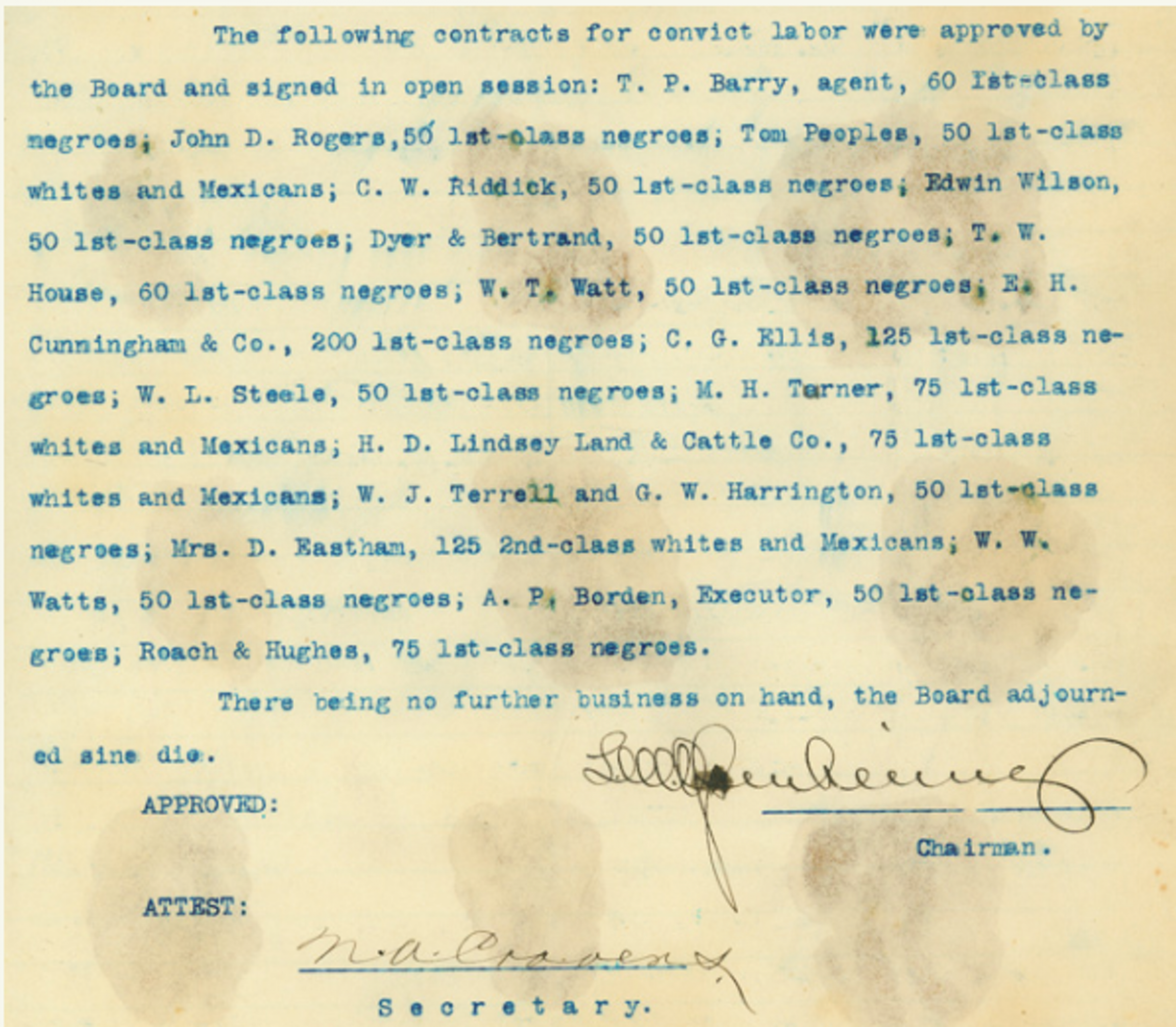 Excerpt from minutes of the regular meeting of the Texas Penitentiary Board, Nov. 12, 1903.