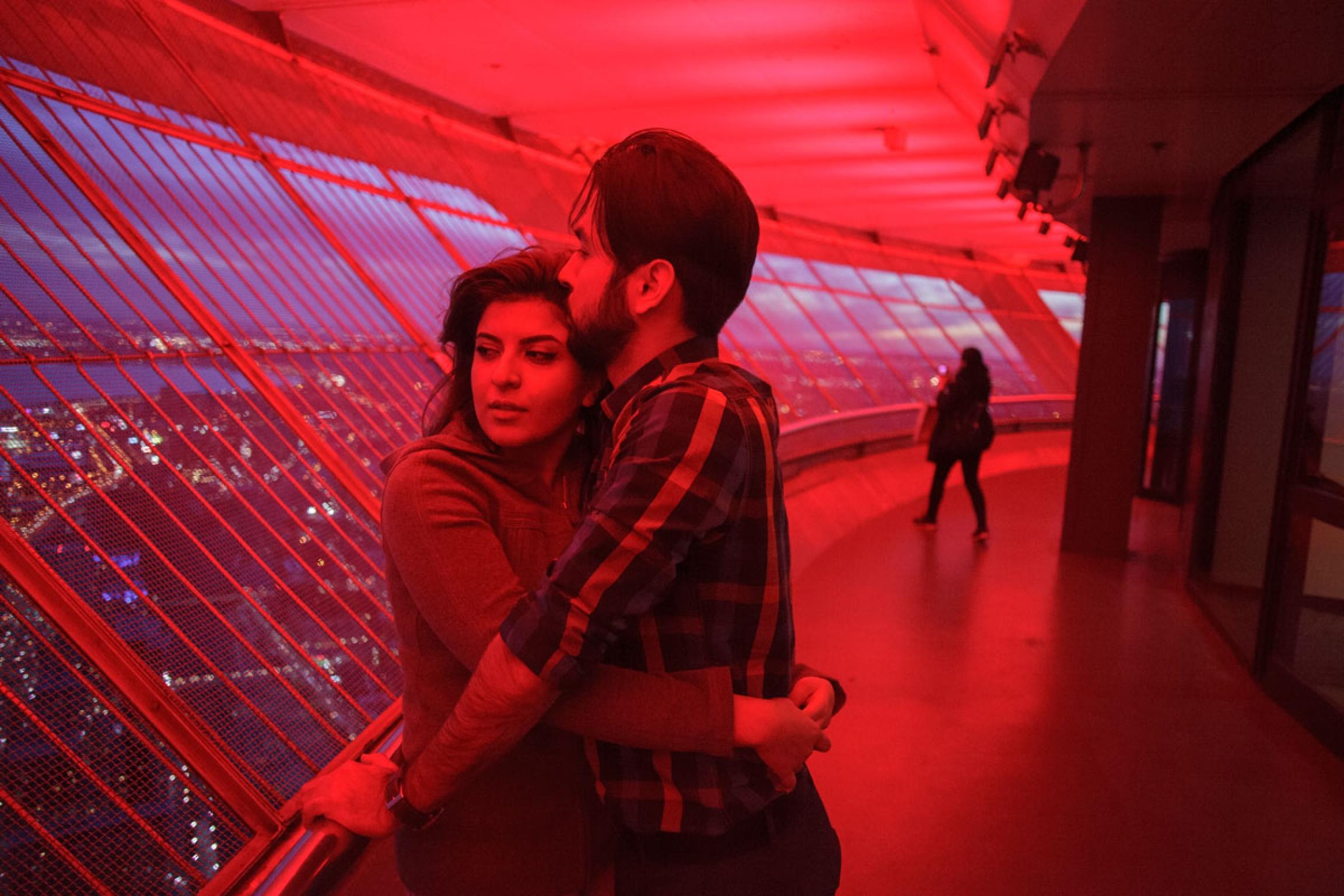 Niloofar Shirazi and Erfan Ebrahimi, Iranian young couple at CN Tower, Toronto.