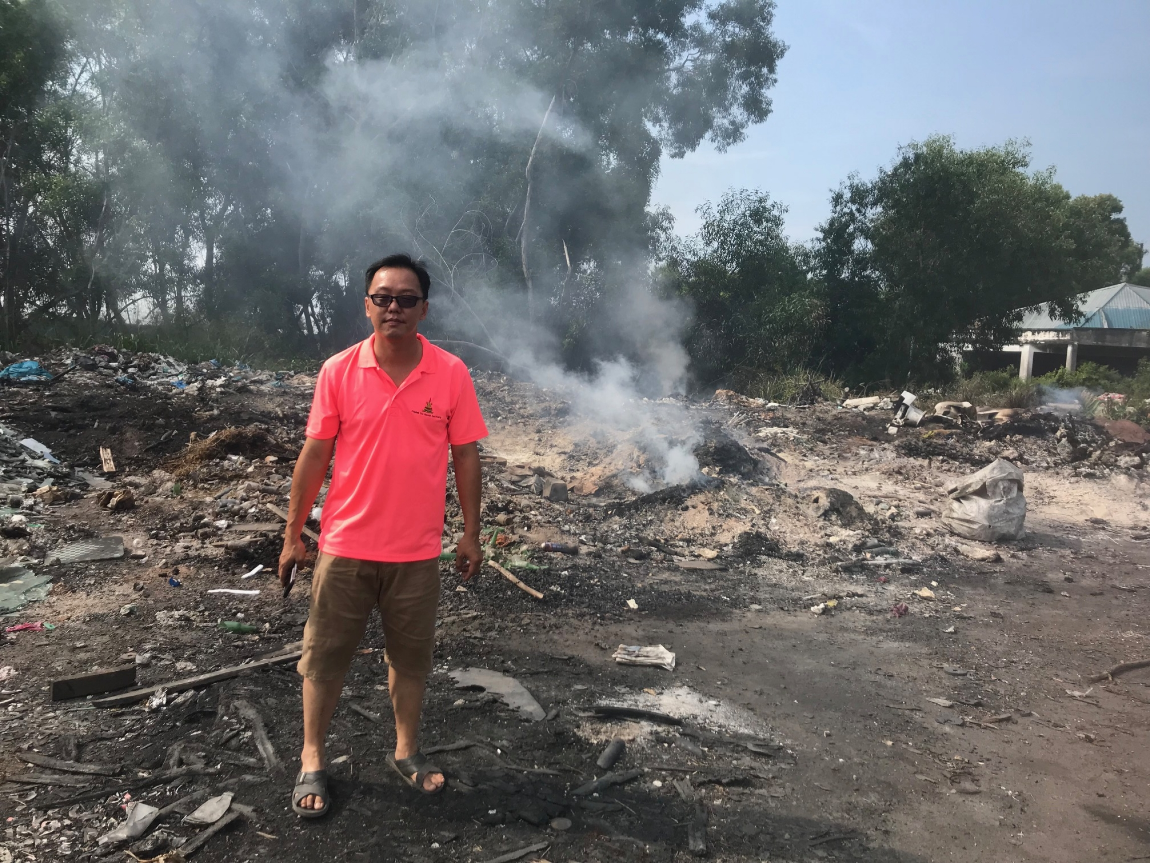 an illegal dump site in Pulau Indah, Malaysia
