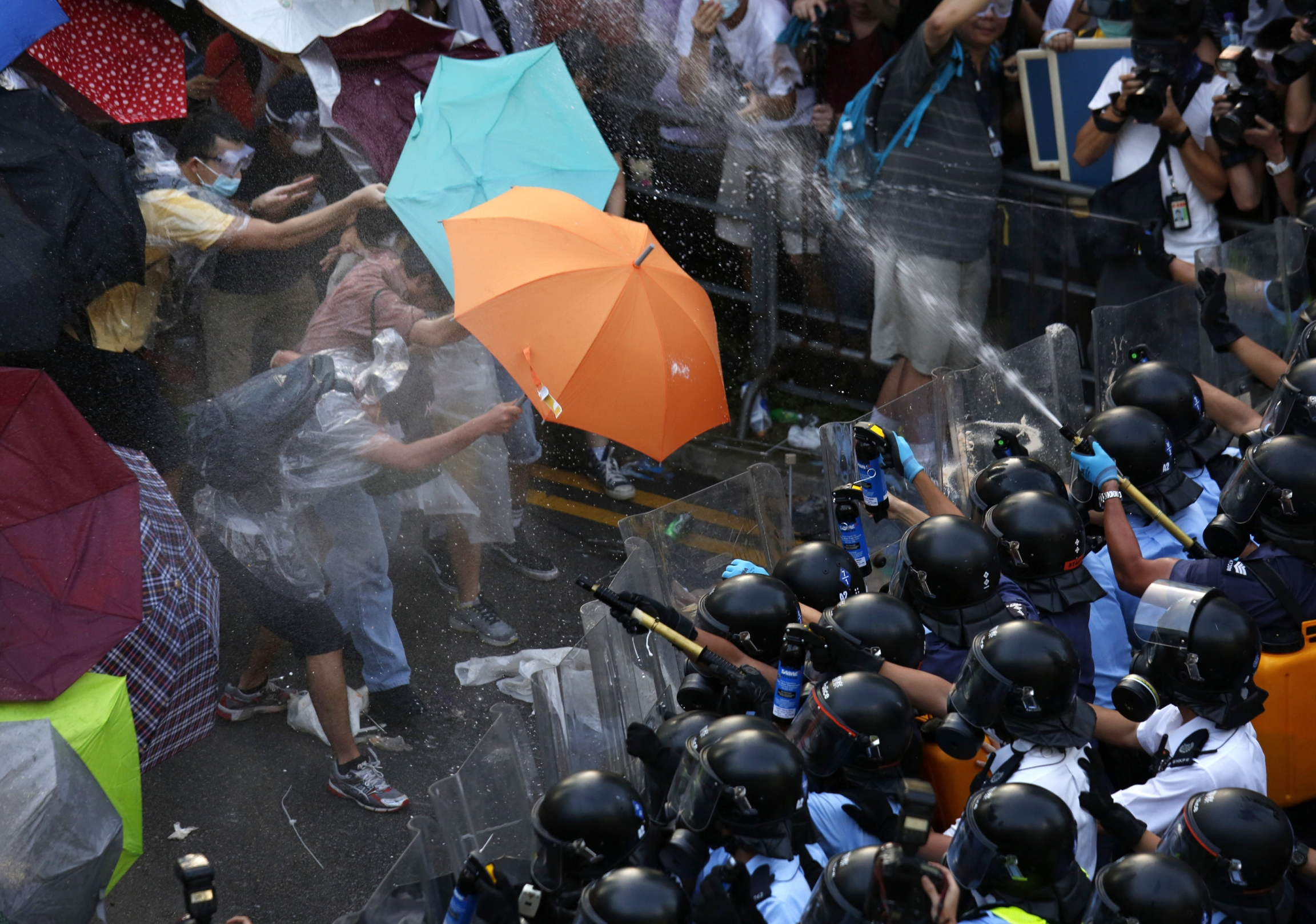 Umbrella Movement protesters face off against police, Sept. 28, 2014.
