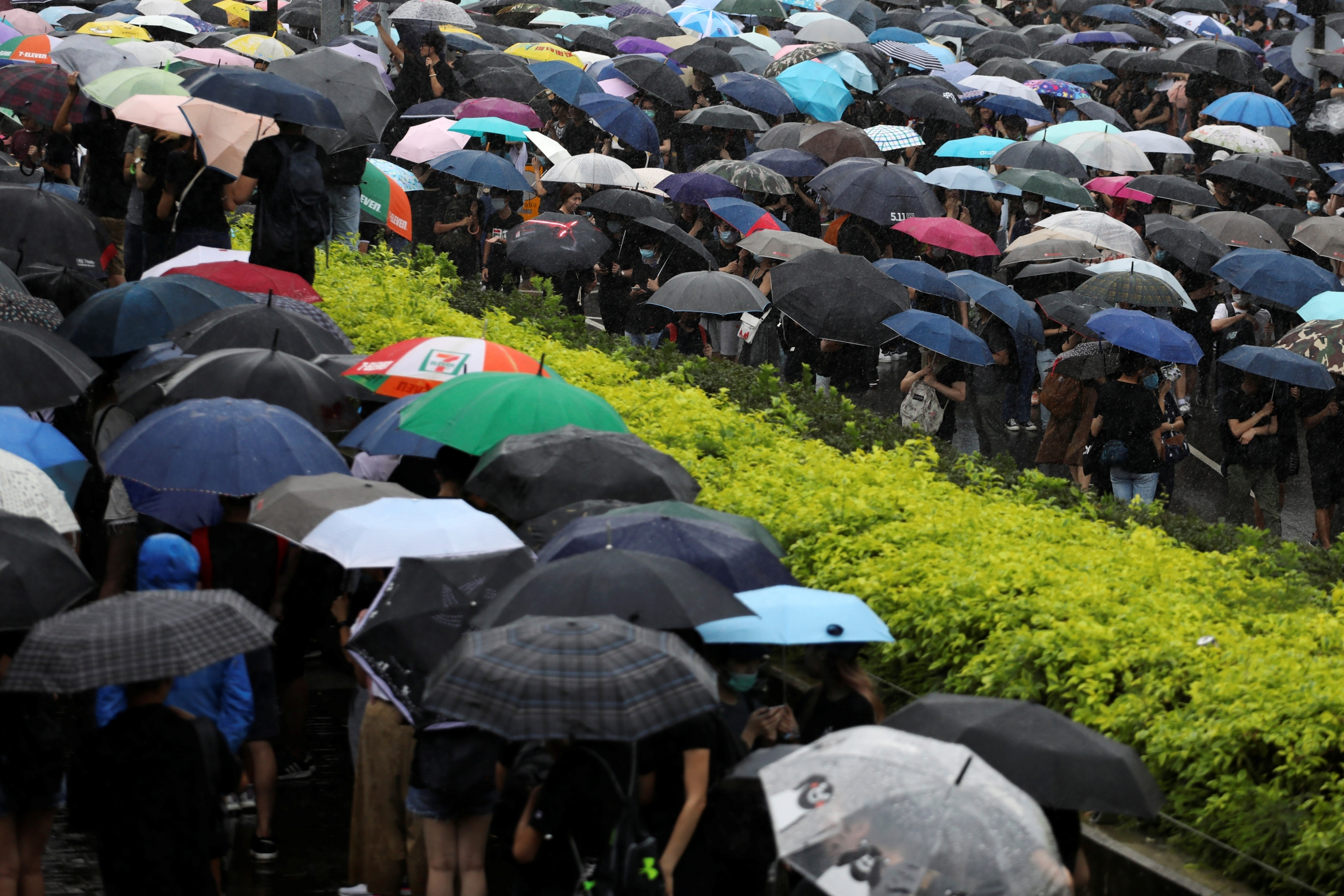 Hong Kong protesters carry umbrellas – a symbolic reminder of the 2014 Umbrella Movement, June 17, 2019.