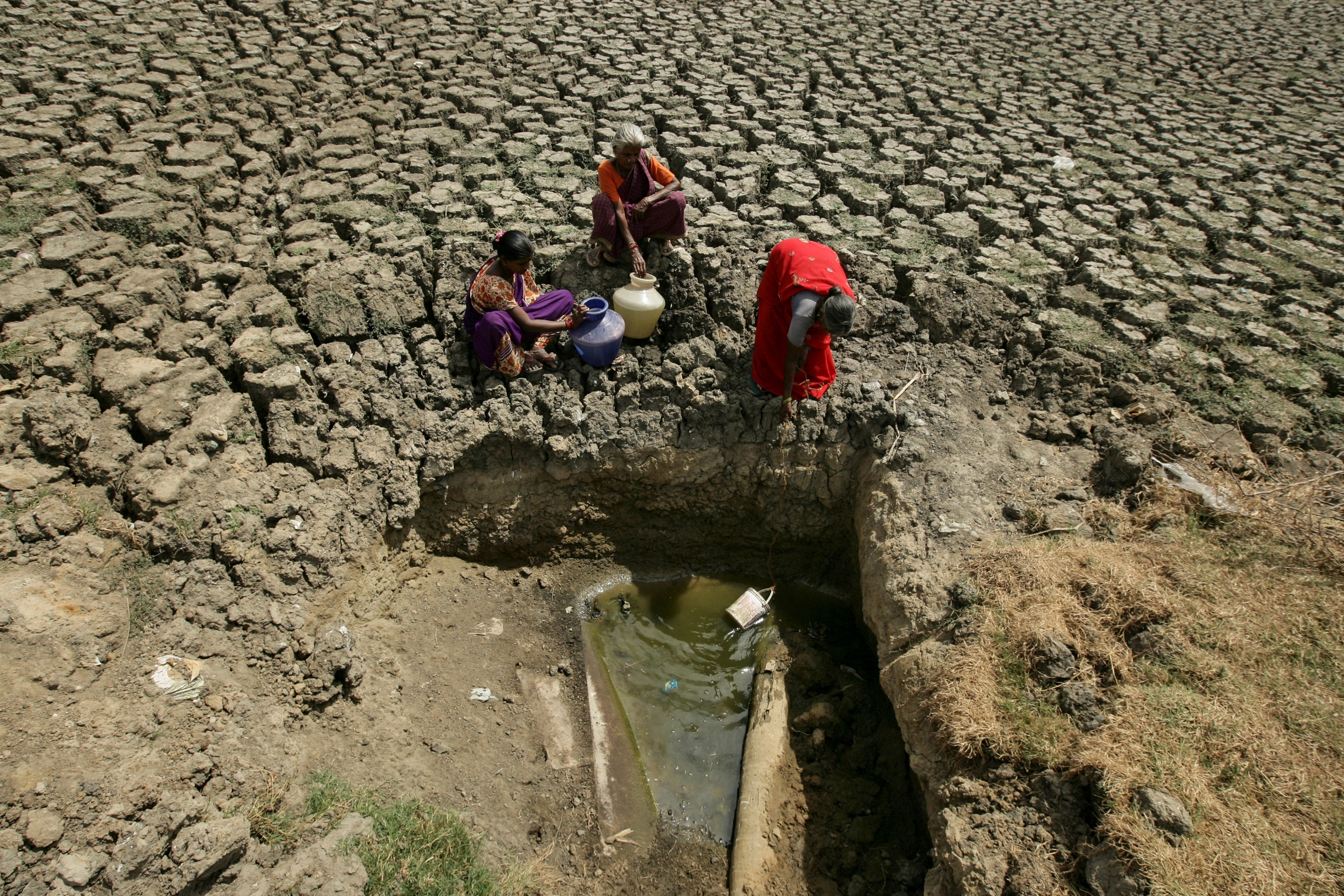 Women fetch water from an opening made by residents at a dried-up lake in Chennai, India, June 11, 2019.