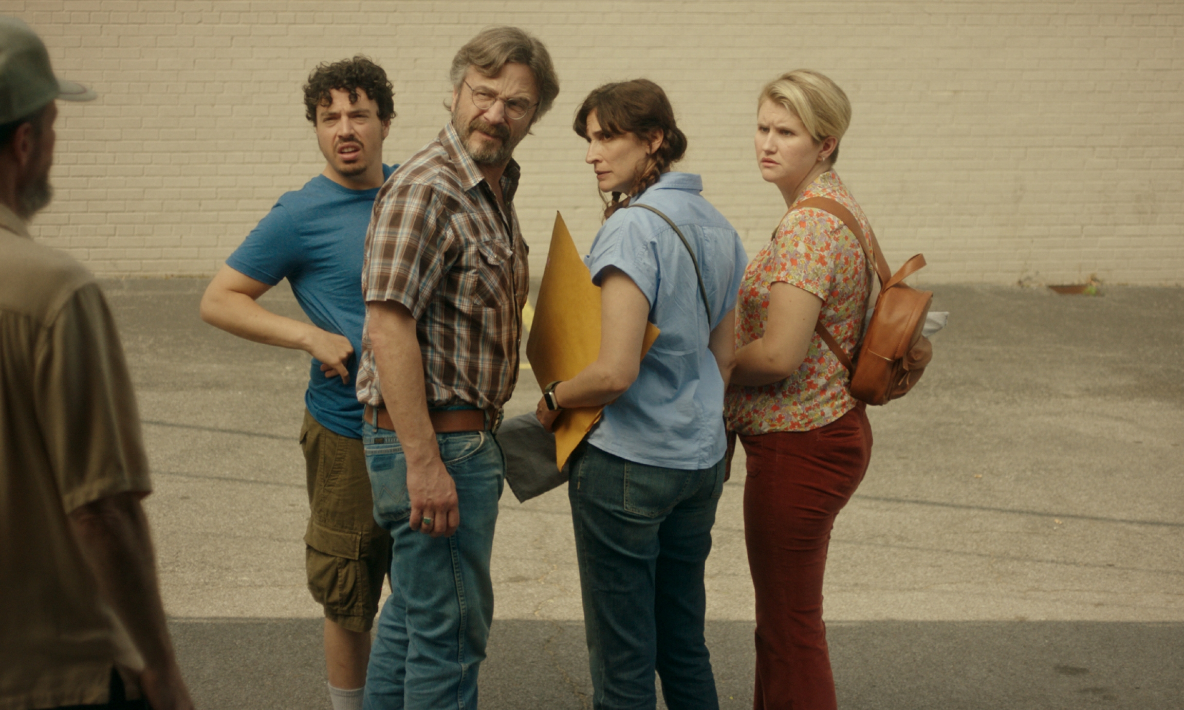 "Jon Bass, Marc Maron, Michaela Watkins and Jillian Bell in Lynn Shelton's ""Sword of Trust."""