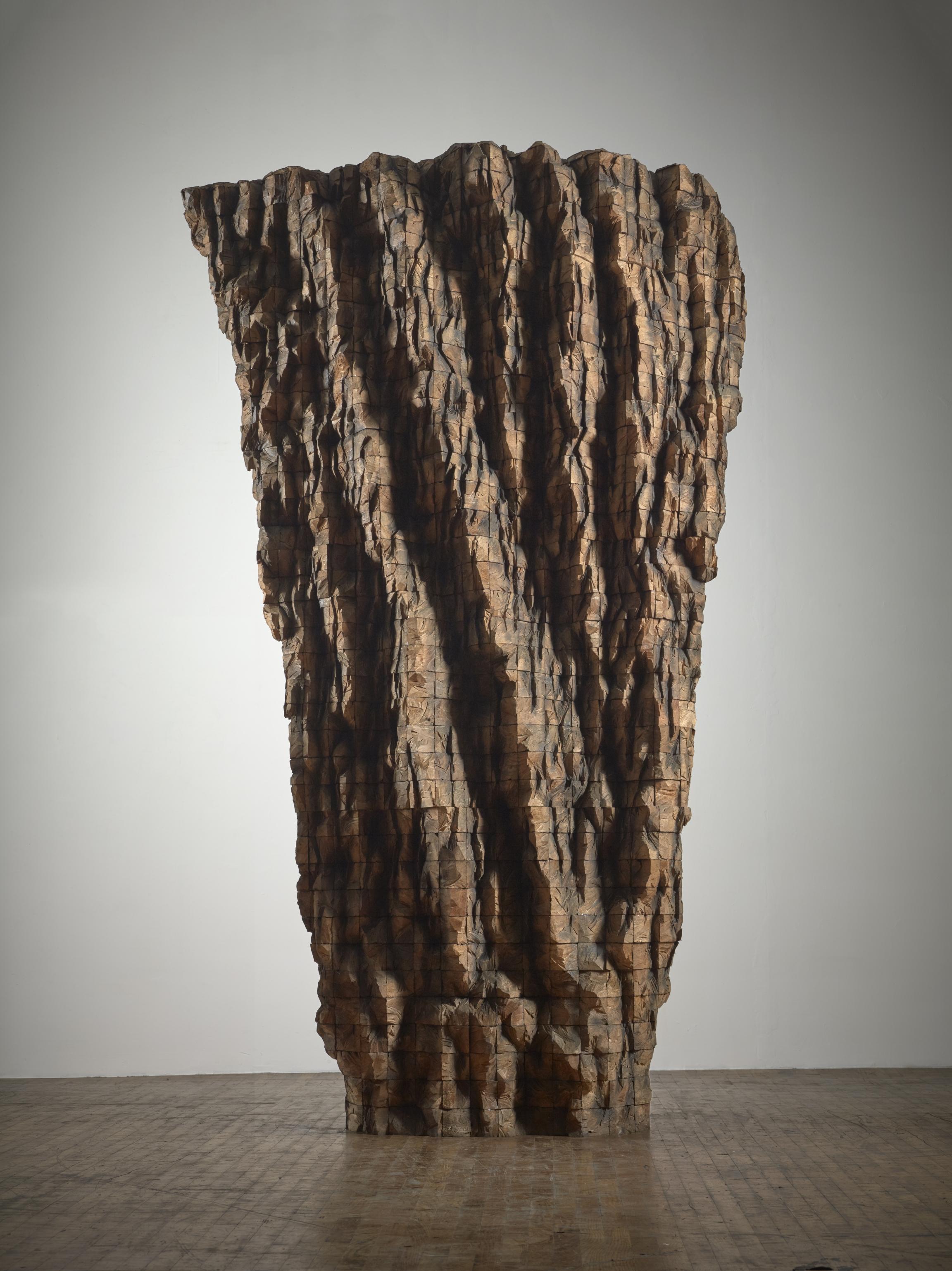 """Krypta I"" by Ursula von Rydingsvard, 2014. Cedar, 125.5 x 77.5 x 56 in."