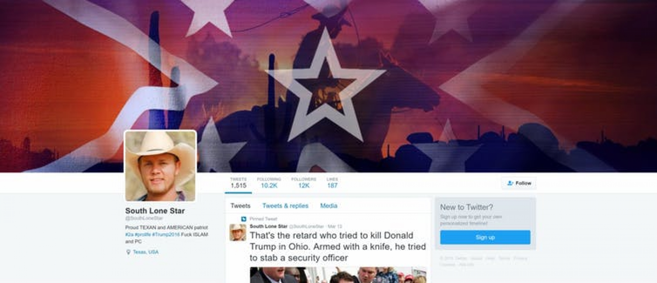 a Russian troll's twitter profile as a Texan