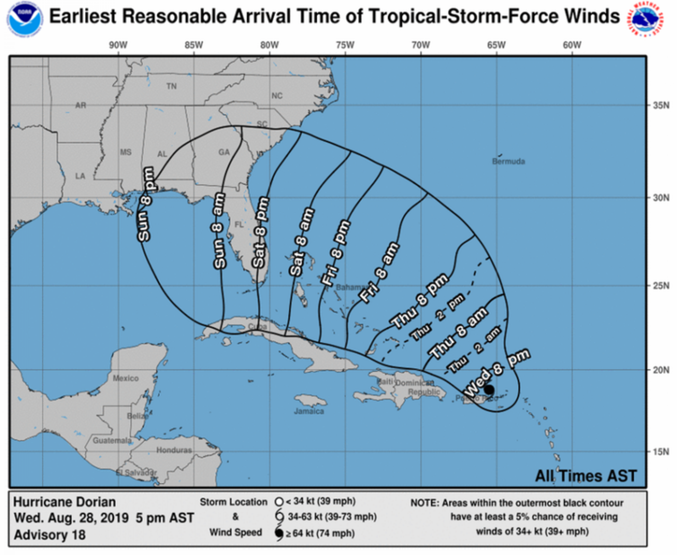 A map of the hurricane's projected location by time.