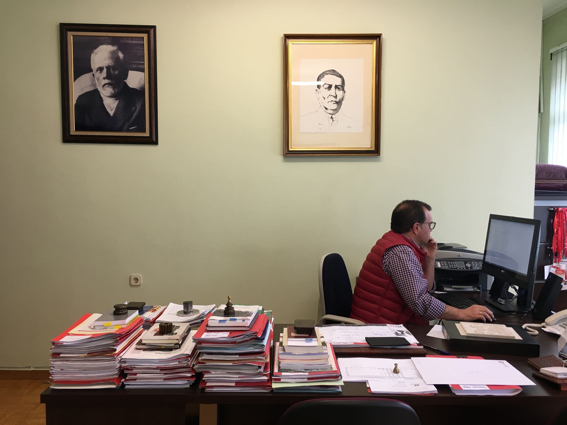 José Luis Alperi, spokesperson for Asturia's leading miners' union, sits at his office. His union struck a deal with Spain's Socialist government in October 2018 that would funnel 220 million euros ($246 million) into the region.