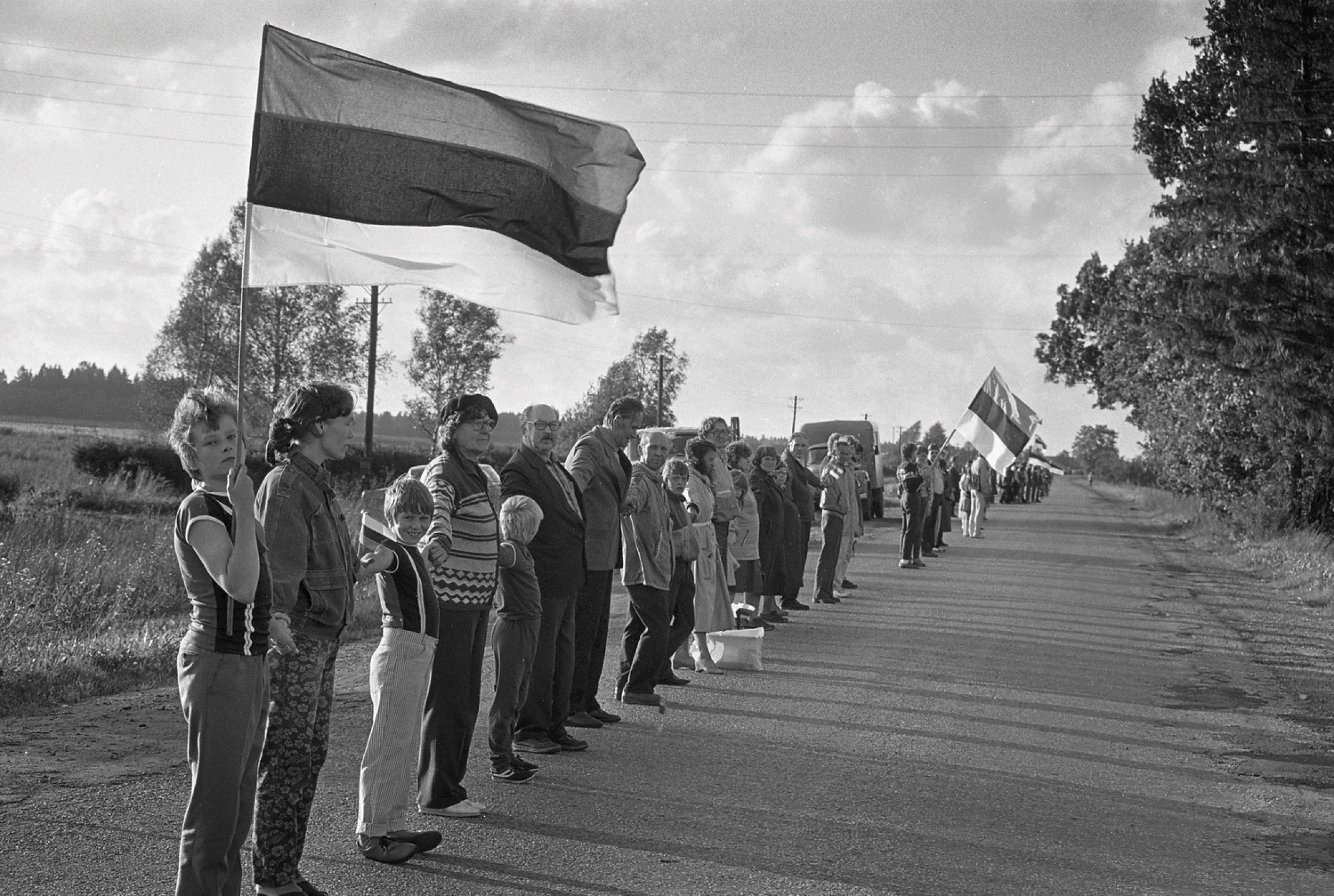 People stand in a line holding hands and flags
