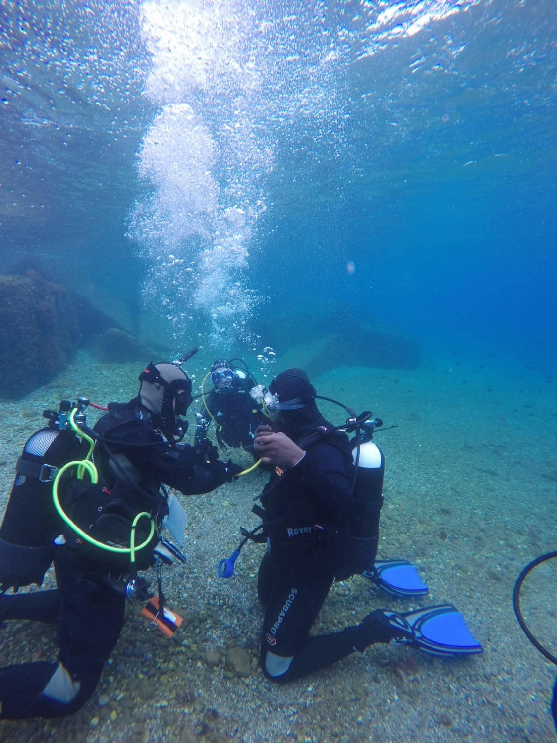 two people underwater in scuba gear.