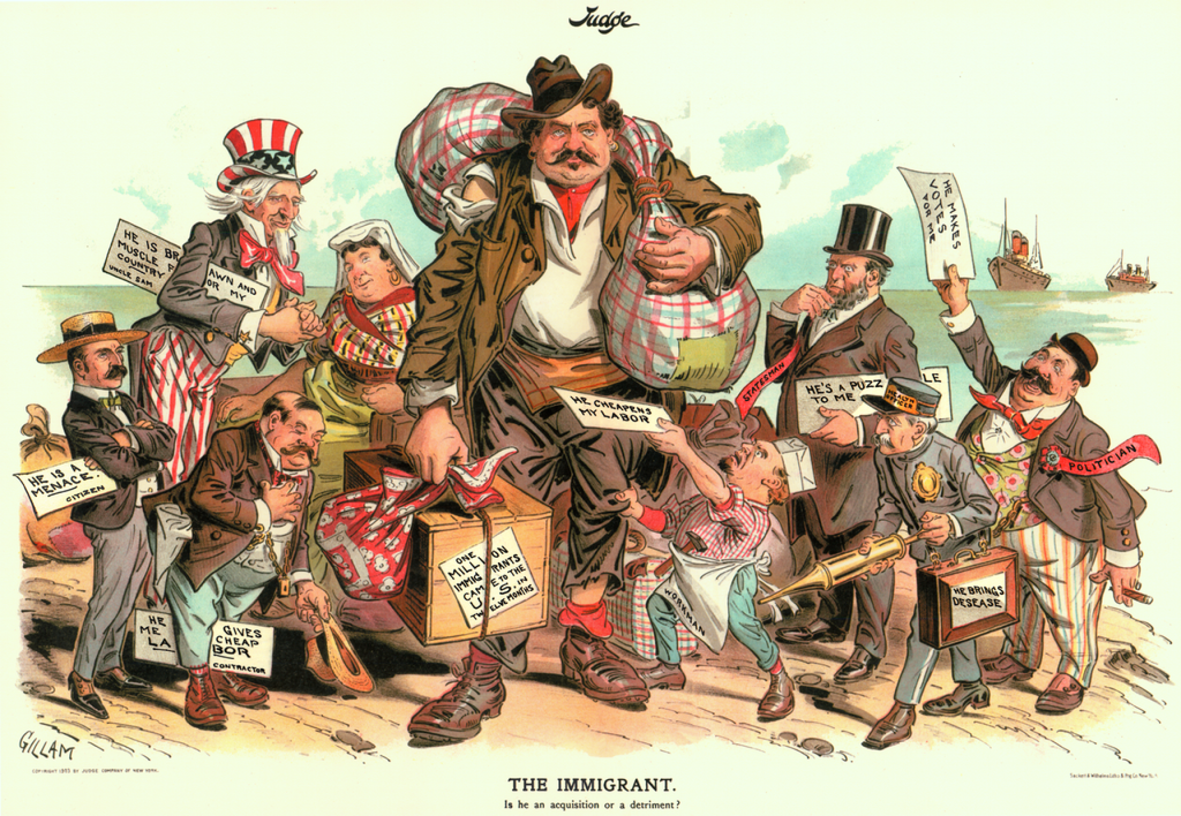 A political cartoon of a caucasian male immigrant with others around him holding signs