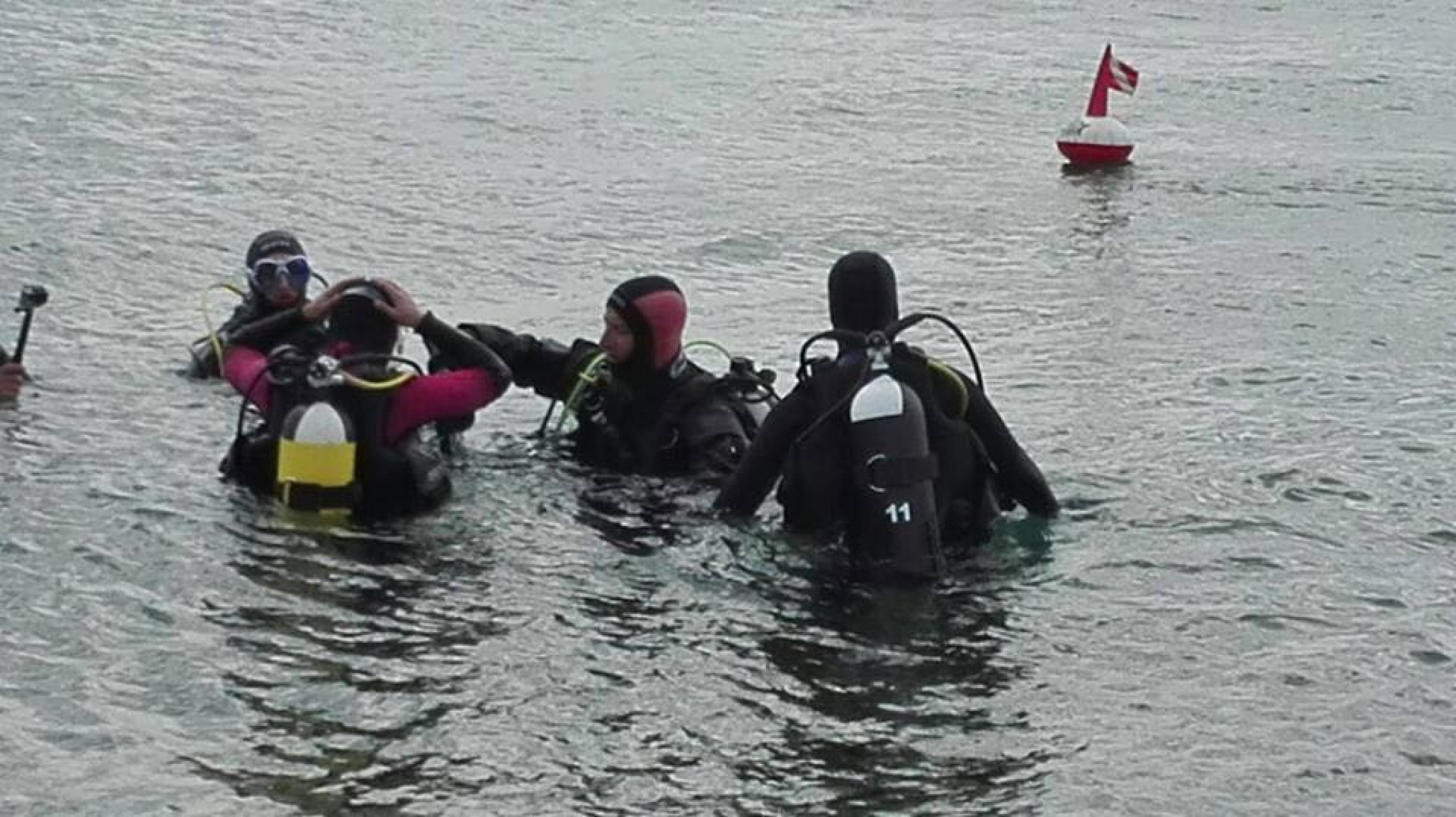 several people in water in scuba gear