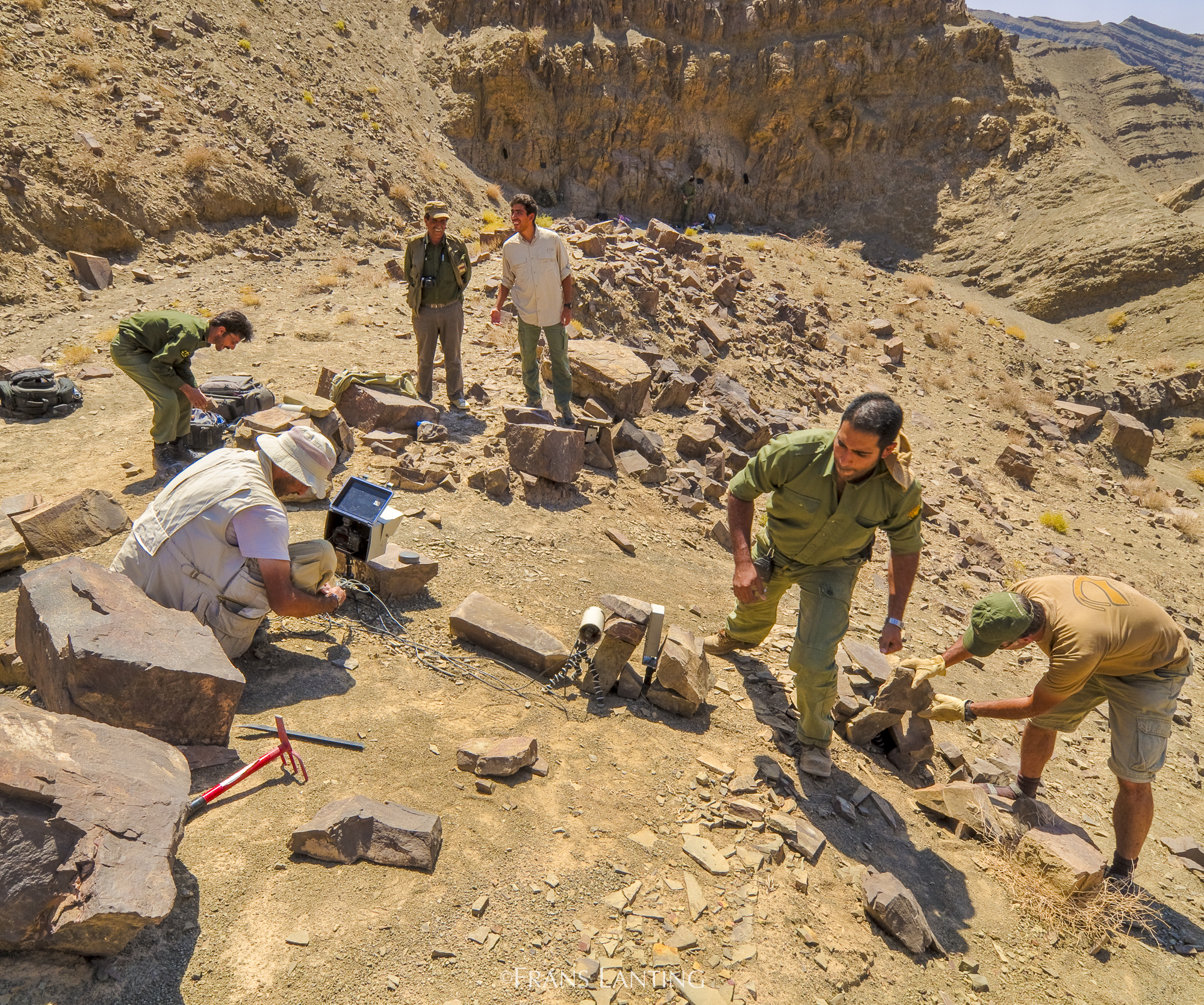 A team of conservationists with the Persian Wildlife Heritage Foundation is at work on a site in Iran.