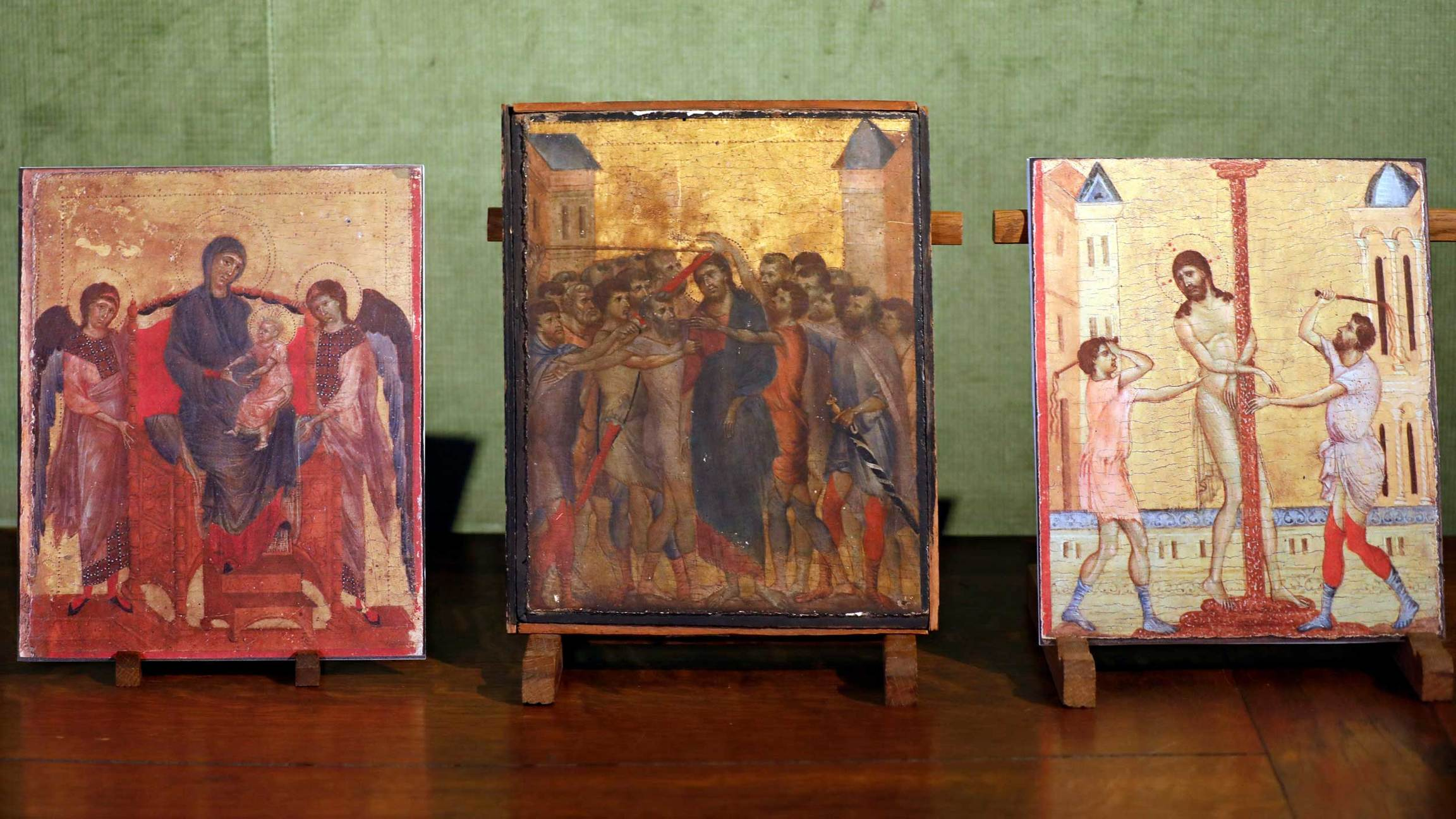 Three religious images are displayed side by side