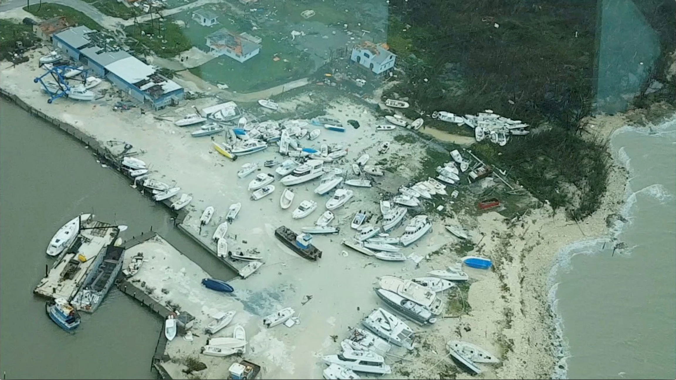 An aerial view shows boats damaged and washed ashore in the Bahamas after Huricane Dorian.