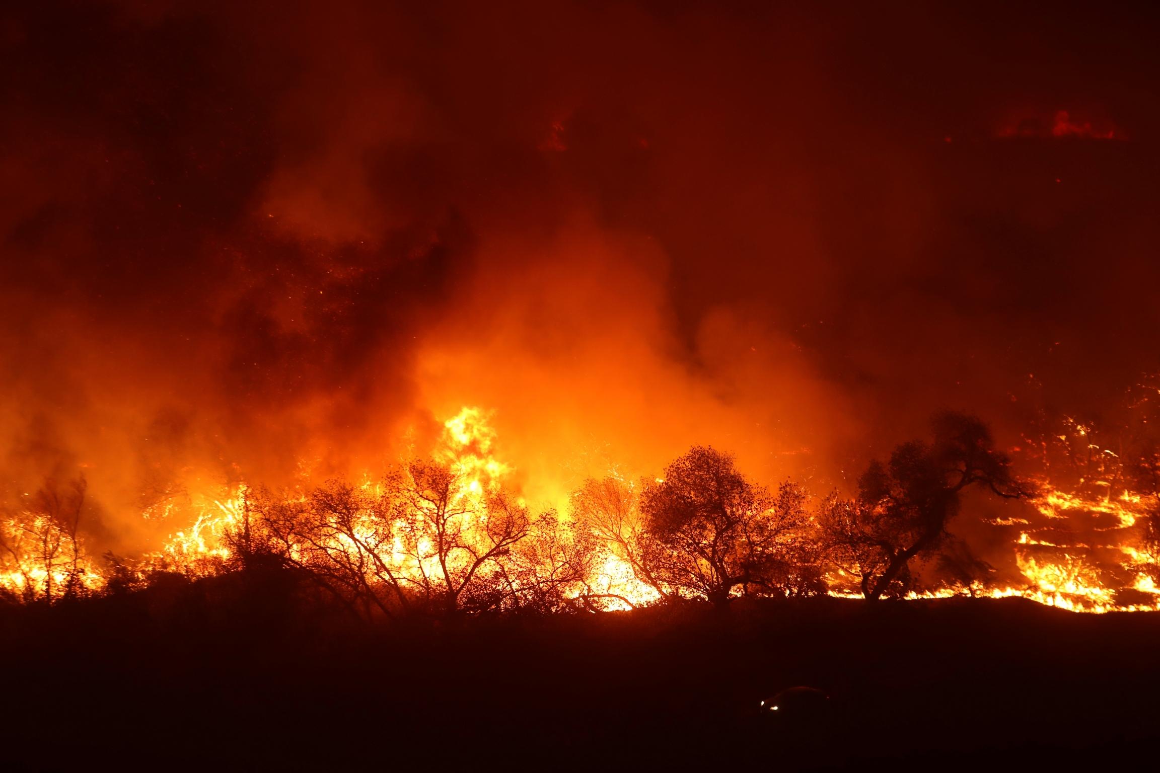 Massive red and orange wild fire