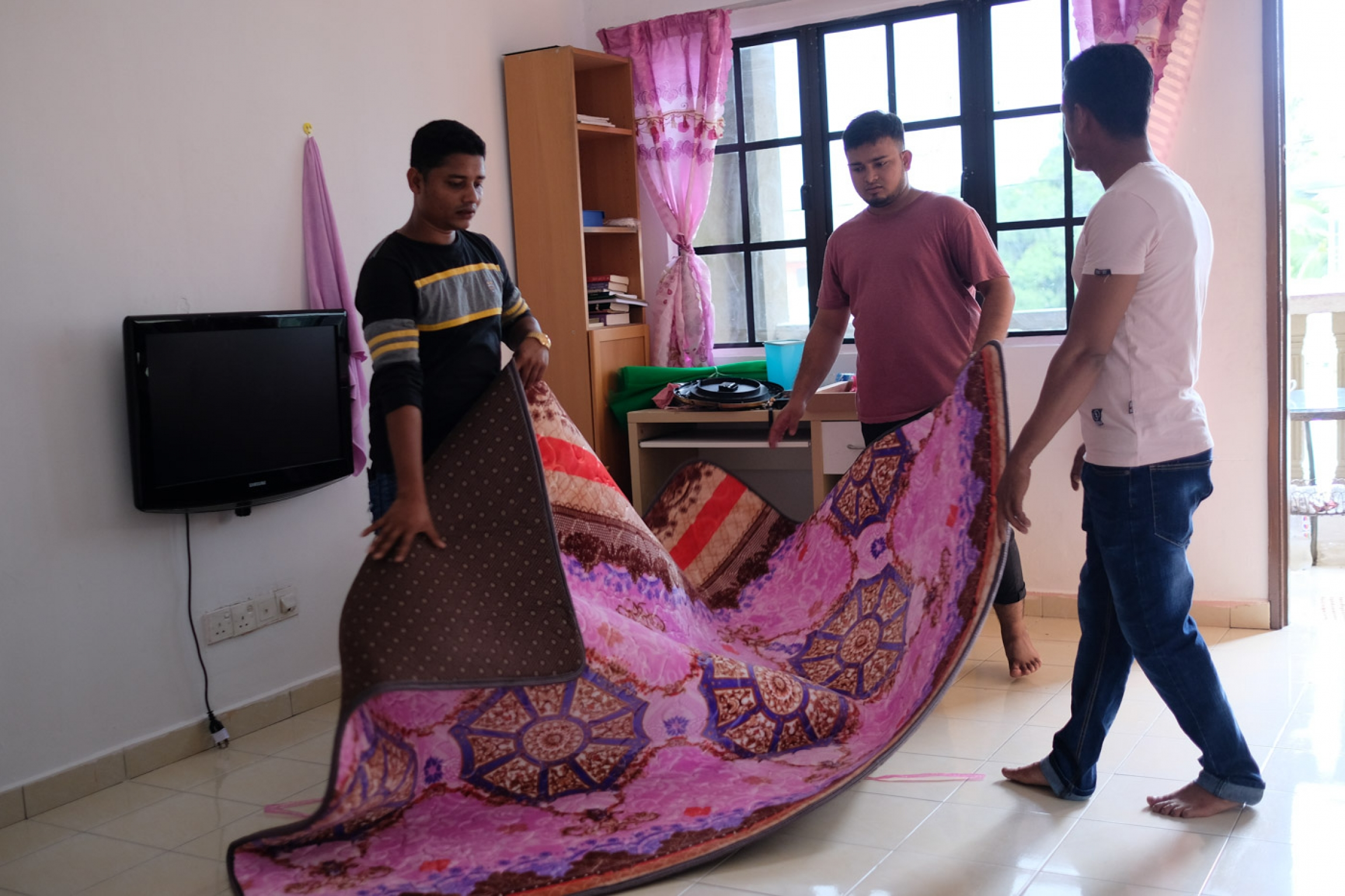 Three young men lay out a new, red and pink carpet in apartment