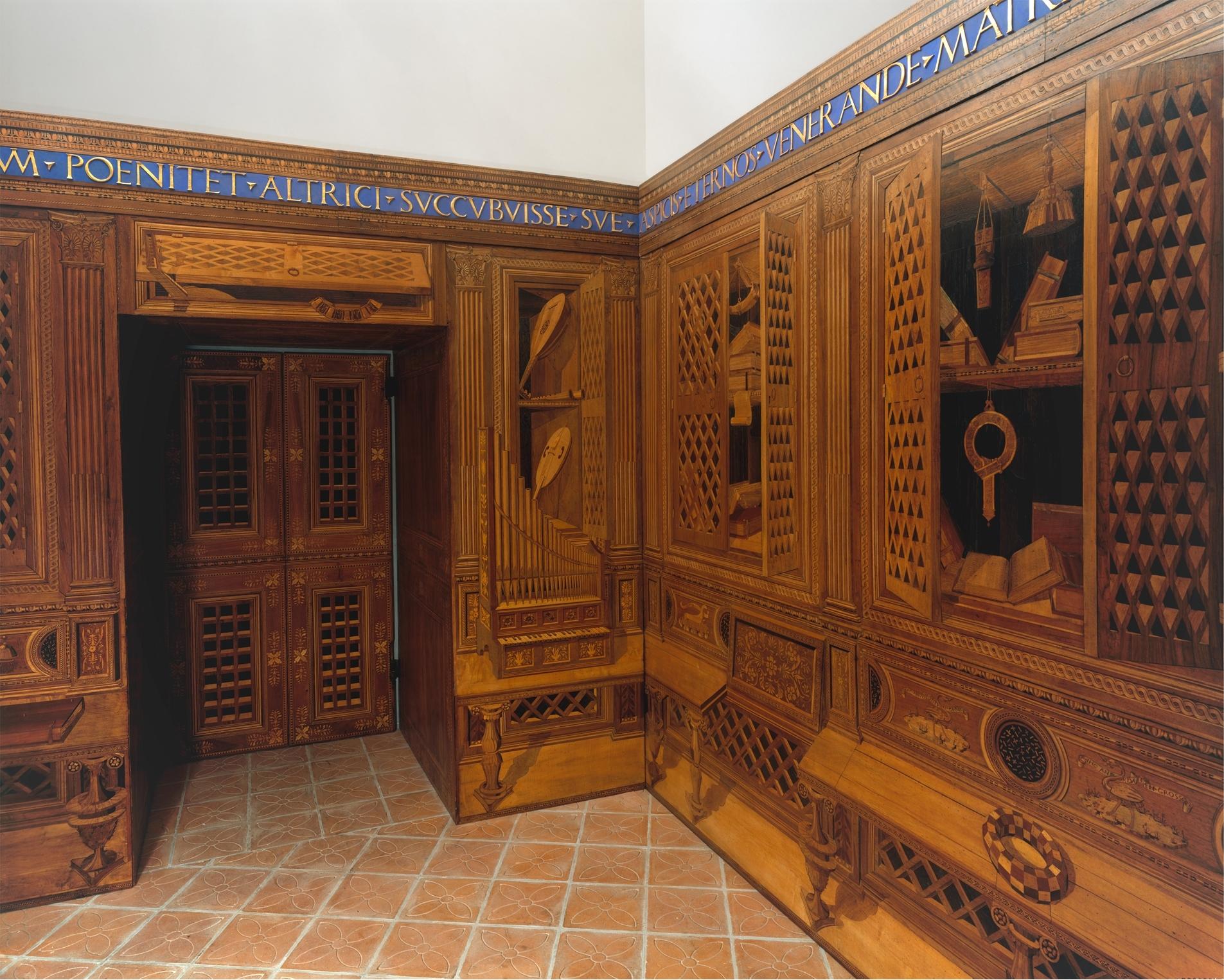 Studiolo from the Ducal Palace in Gubbio, ca. 1478–82. Designed by Francesco di Giorgio Martini.