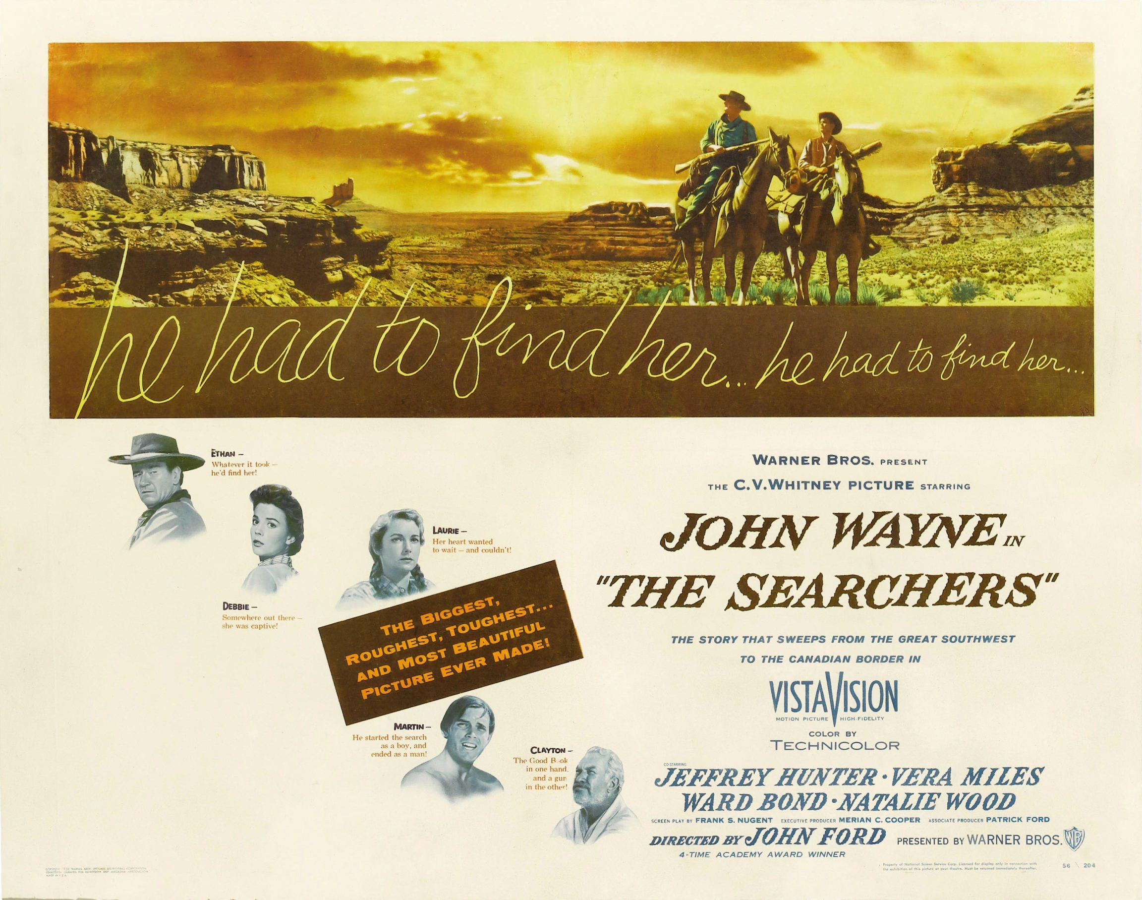 "A poster for the 1956 film ""The Searchers."""
