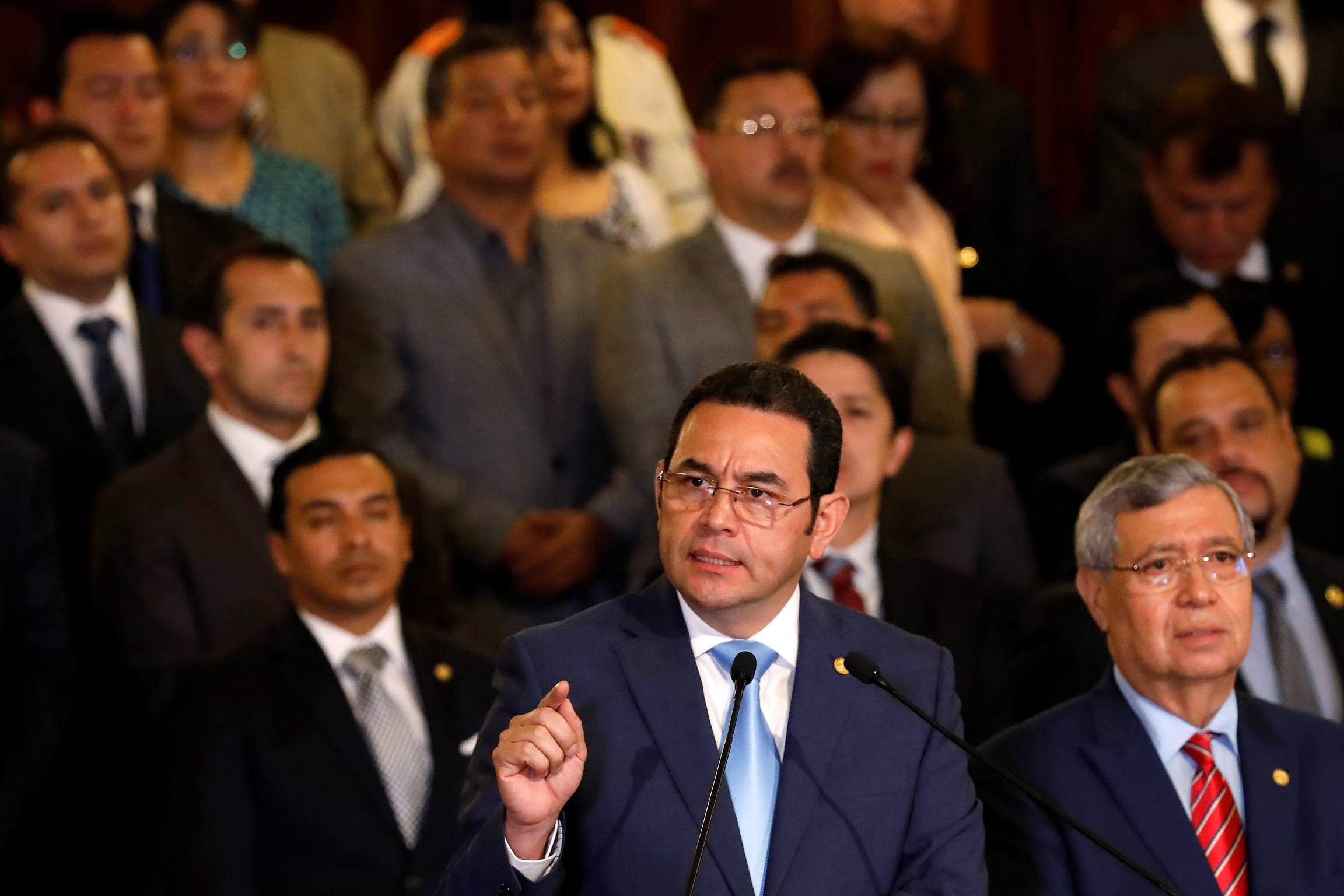 Guatemalan President Jimmy Morales holds a news conference to announce that it was ending the mandate of the UN-backed anti-graft commission, the CICIG, in Guatemala City, Guatemala, January 7, 2019.