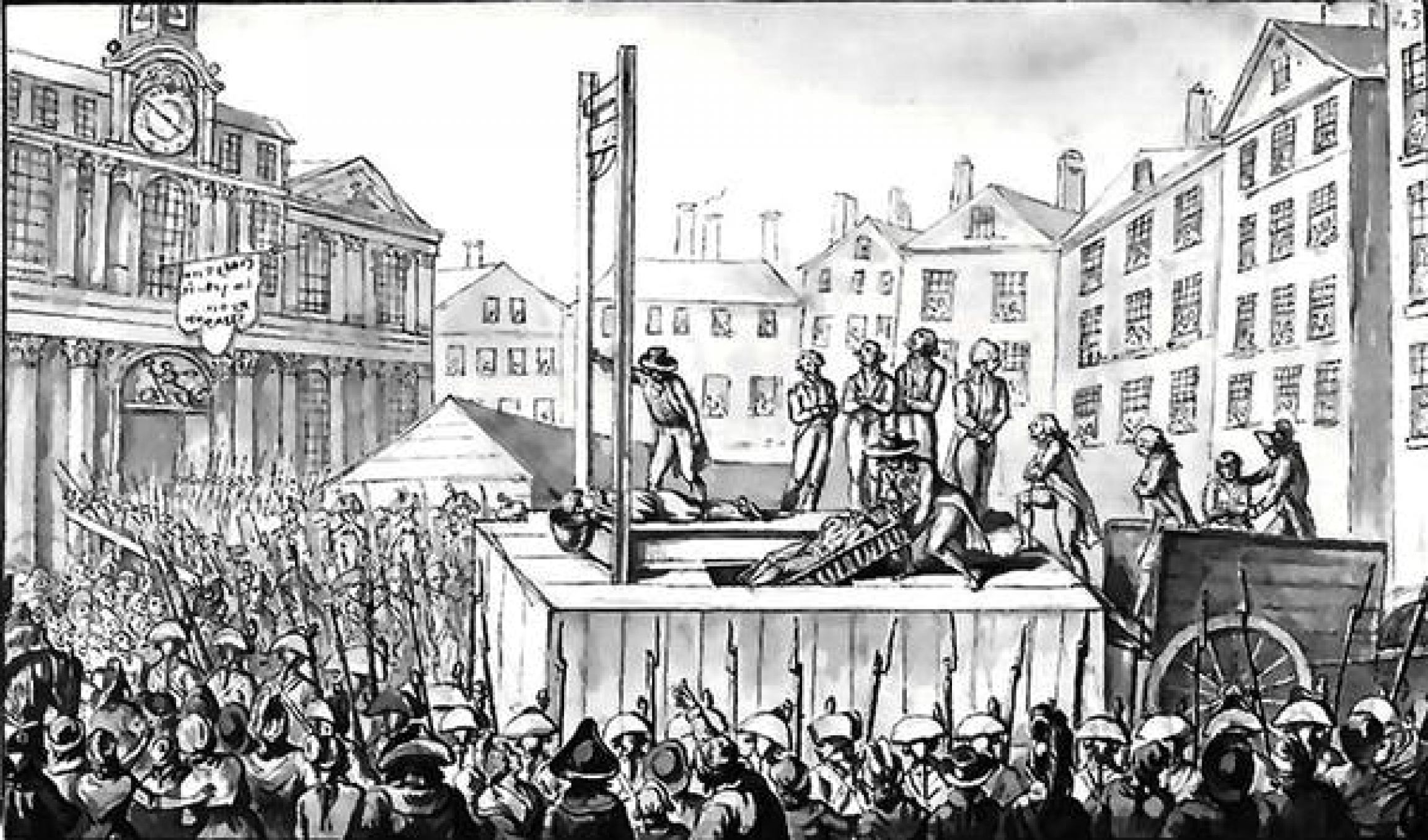 A black and white drawing depicting a guillotine execution in France