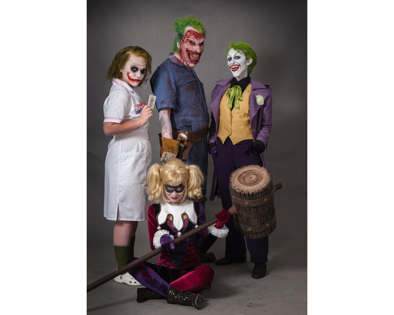 Rick Baker (center) gave his family movie-style makeup one Halloween to become different iterations of the Joker (and Harley Quinn), from screen to comic book.