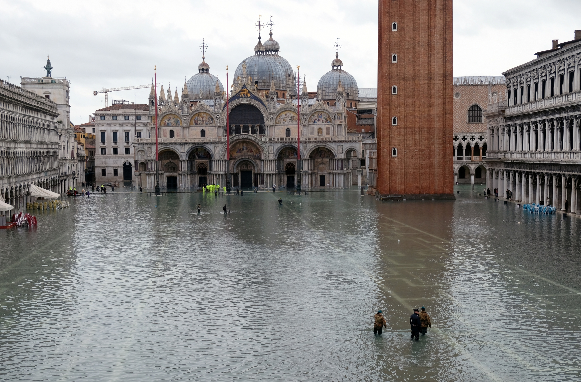 Authorities patrol St. Mark's Square after days of severe flooding inVenice, Italy, Nov. 17, 2019.