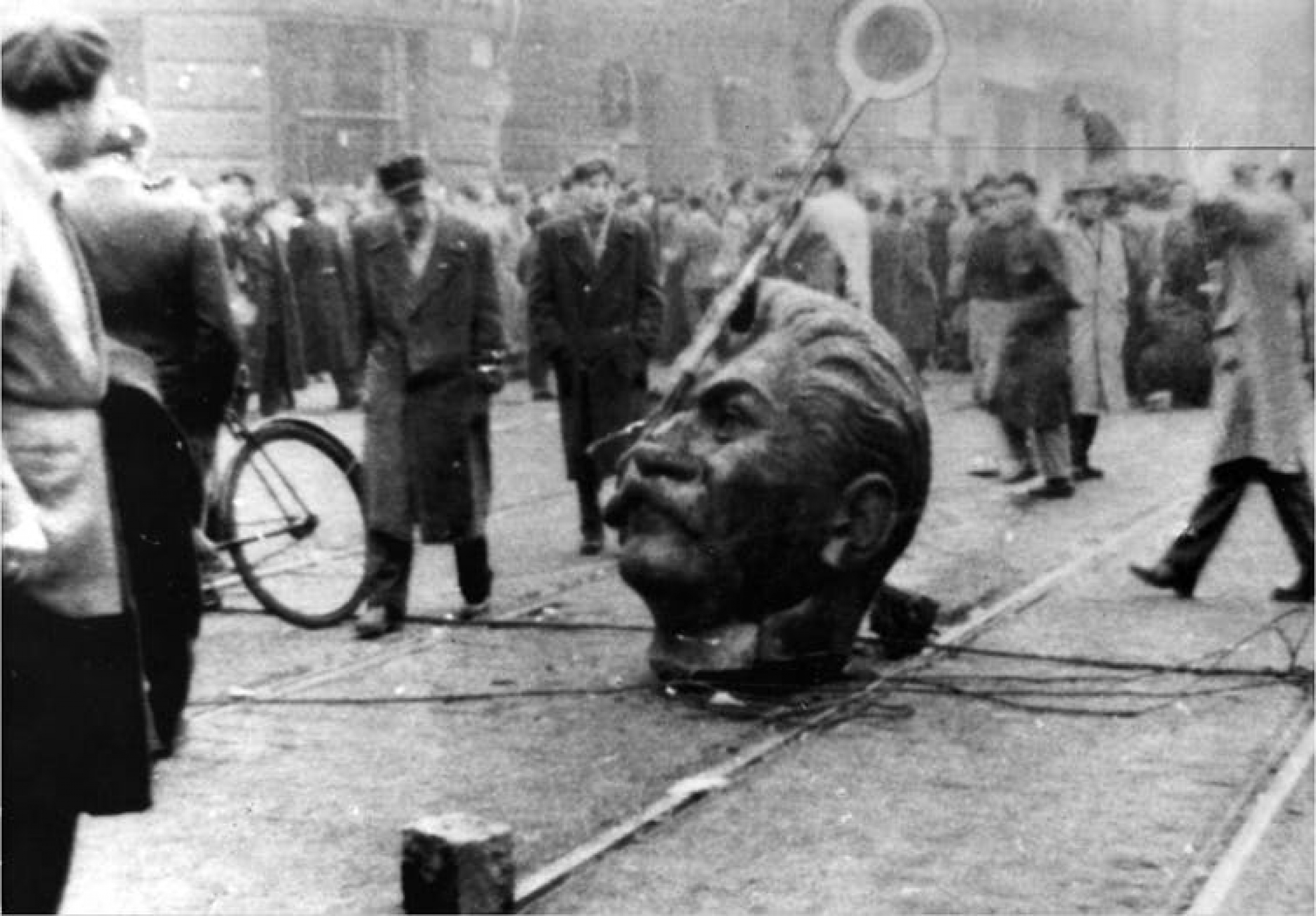 A statue of Stalin's head is on the ground during a revolution in Hungary.
