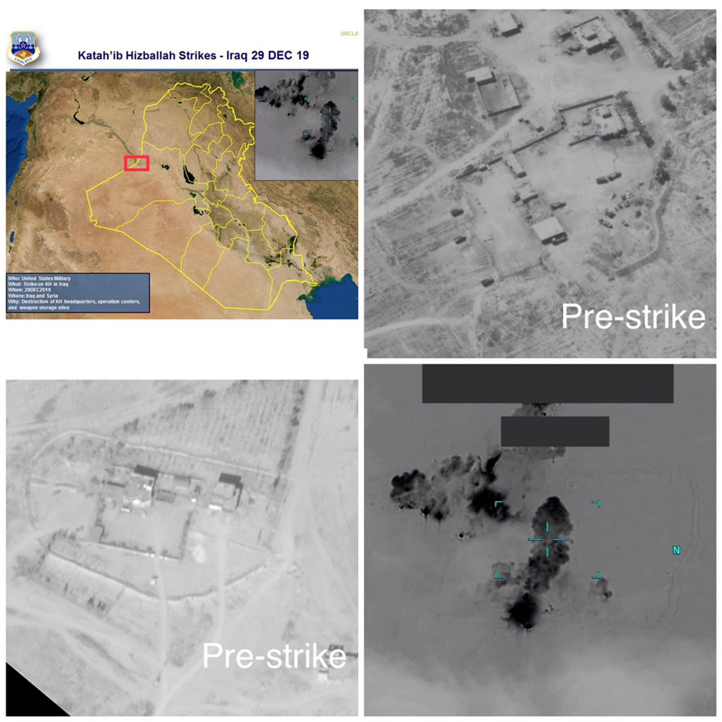 A combination of satellite images showing the before and after of a US air strike.
