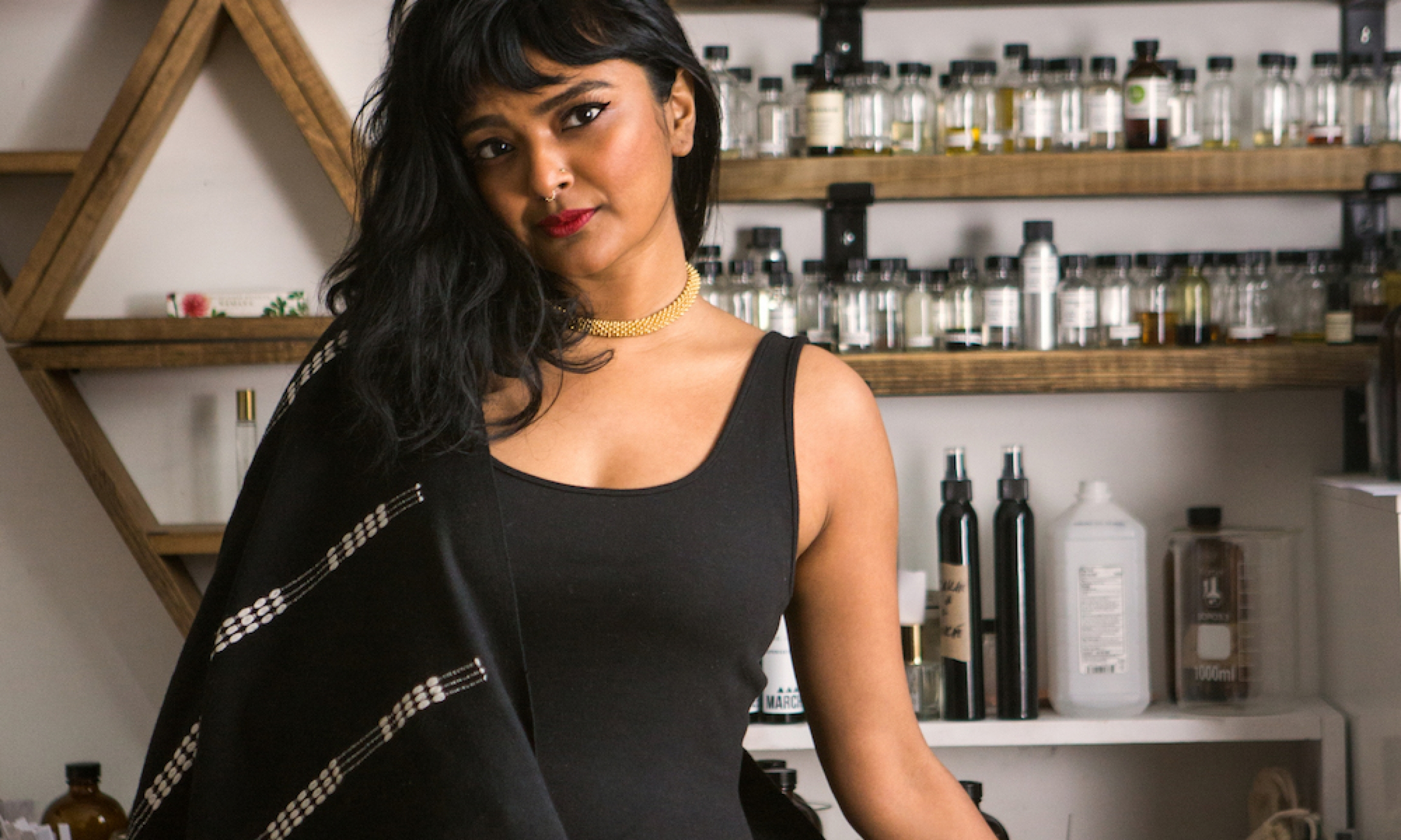 Tanwi Nandini Islam poses in her Hi Wildflower studio in Brooklyn, New York.