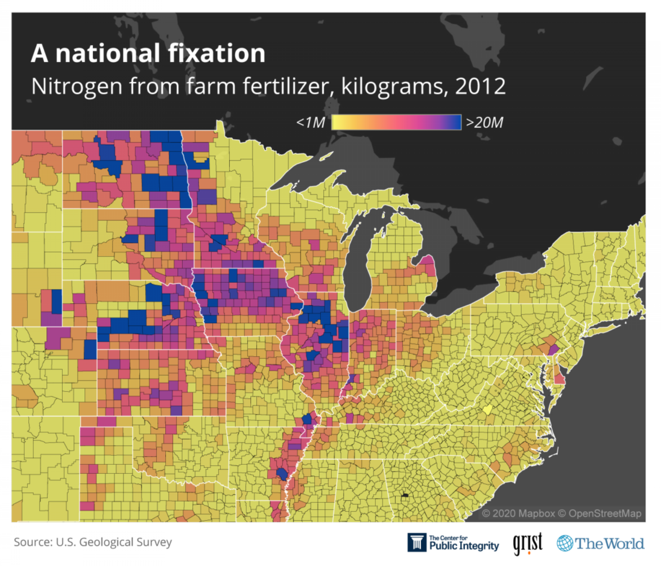 A heatmap of the Midwest Nitrogen from farm fertilizer, kilograms, 2012.
