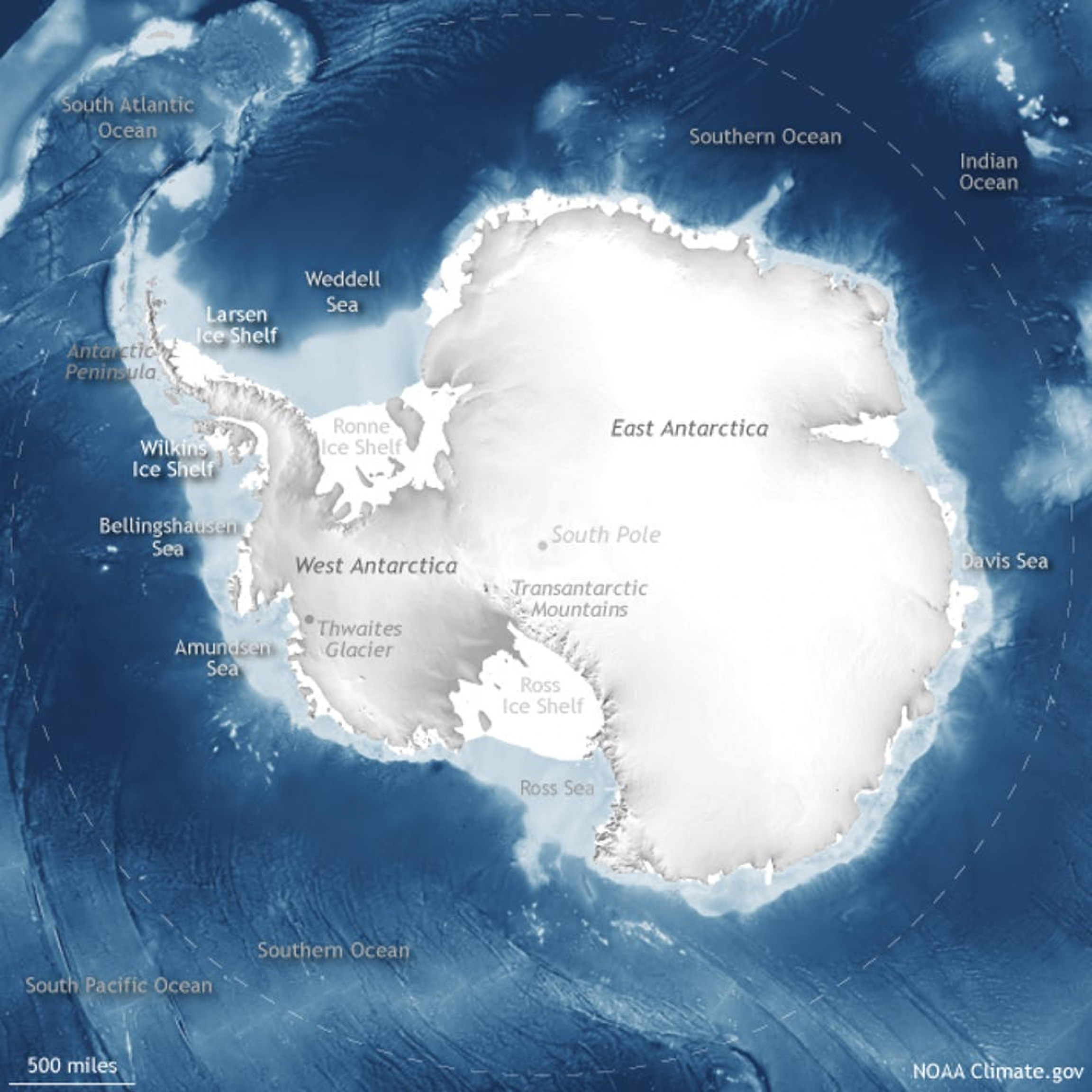 Antarctica is mostly covered by ice sheets on land and fringed by floating ice shelves.