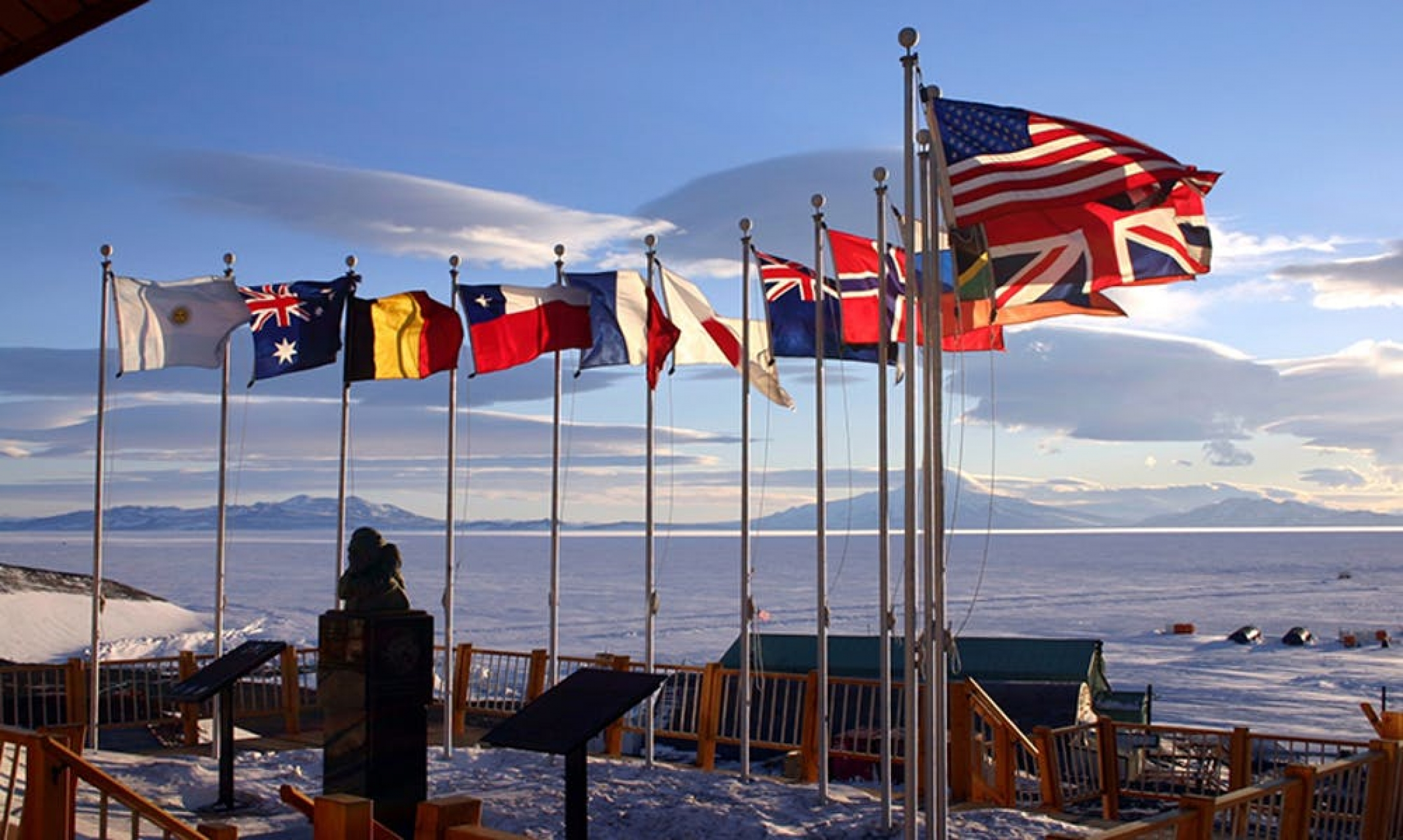 Flags of the 12 original Antarctic Treaty member countries at McMurdo Station, Antarctica.