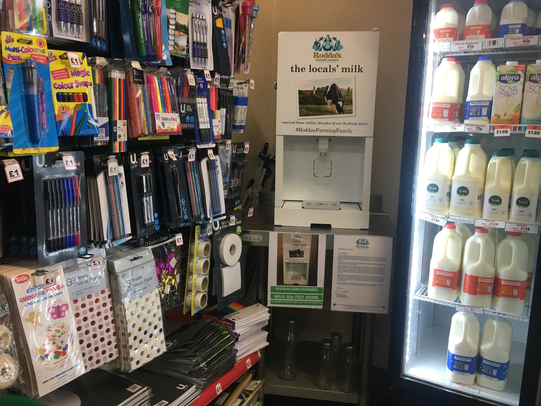 In a bid to offer customers a plastic-free option, Thornes has just set up a milk refill machine stocked with local milk. Customers can pick up glass bottles and bring them back.