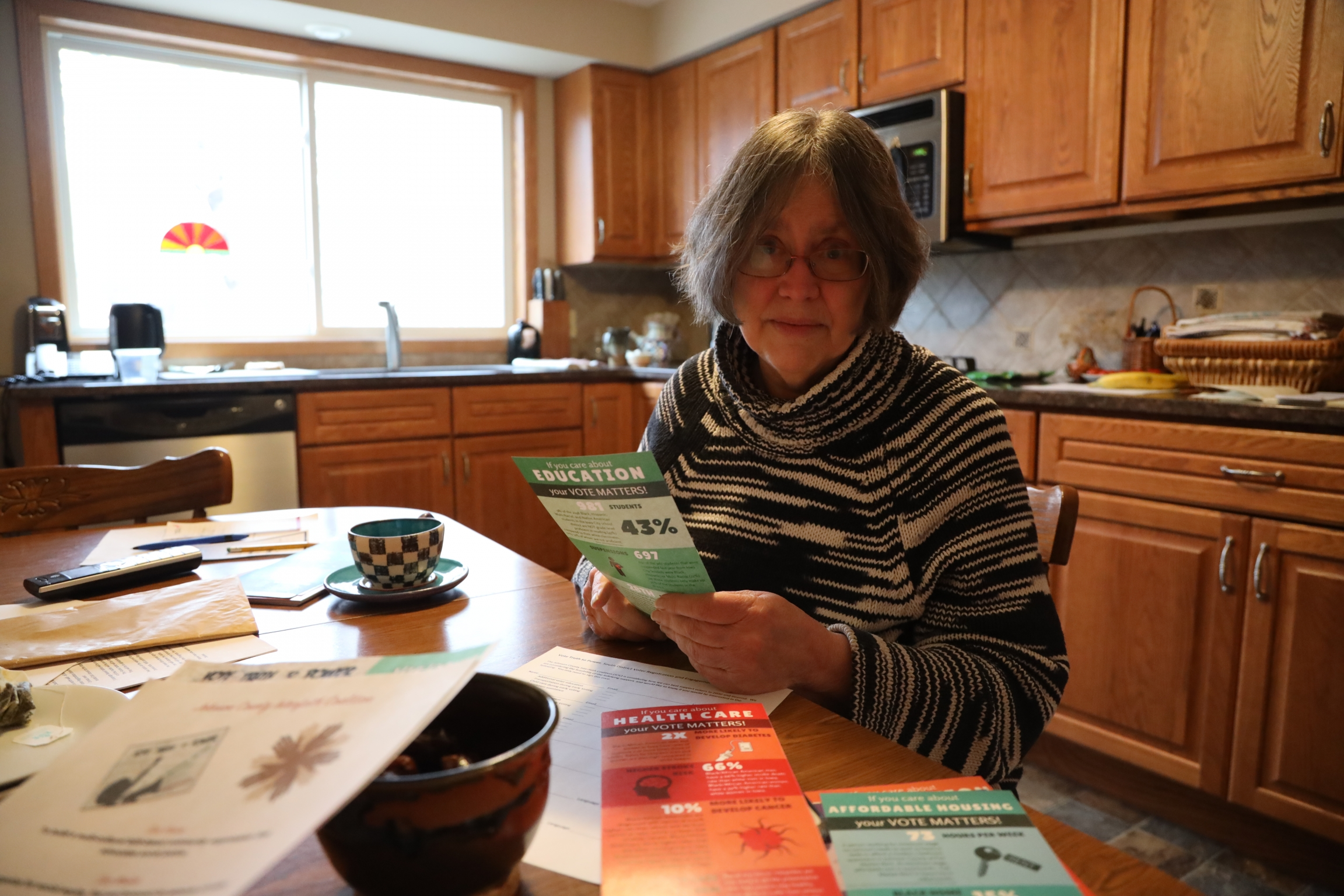 Retired University of Iowa librarian Donna Hirst is working on improving immigrant and refugee voter engagement as part of the Johnston County Interfaith Organization.