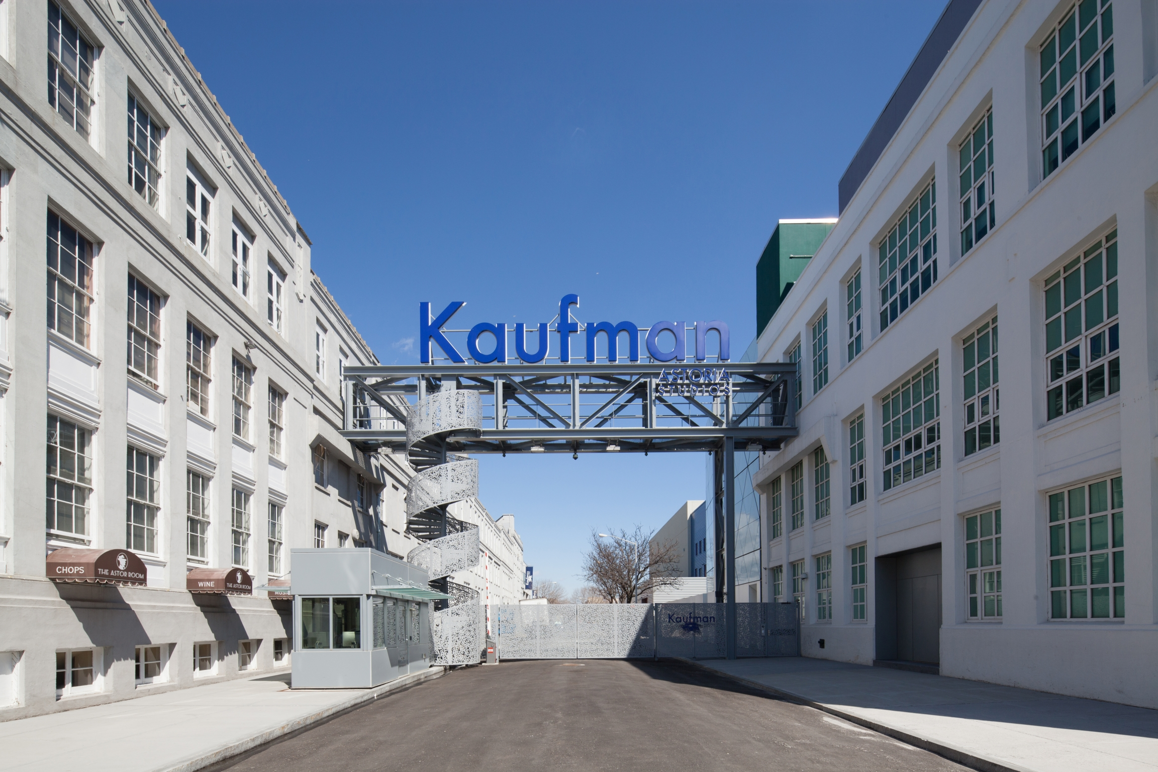 The Kaufman Astoria Studios sign from 35th Avenue.